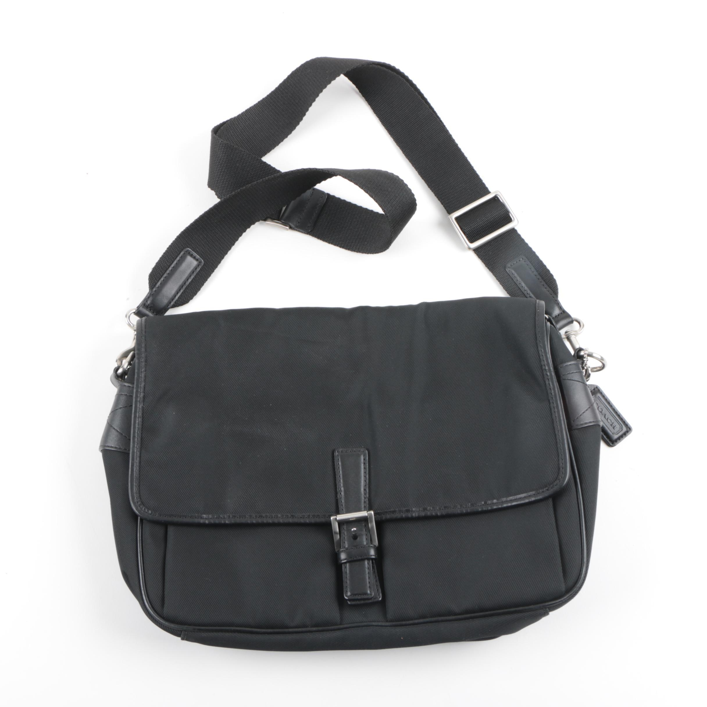 Coach Black Nylon and Leather Messenger Bag