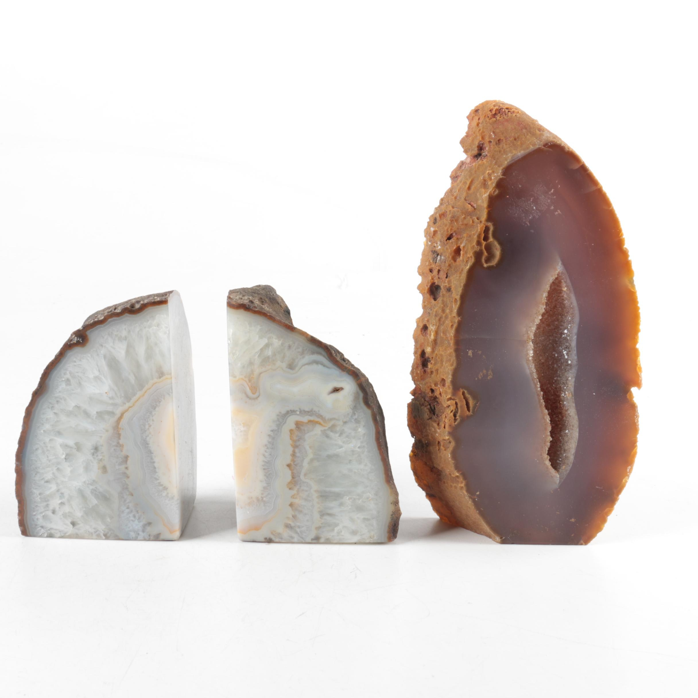 Agate Bookends and Geode Slice