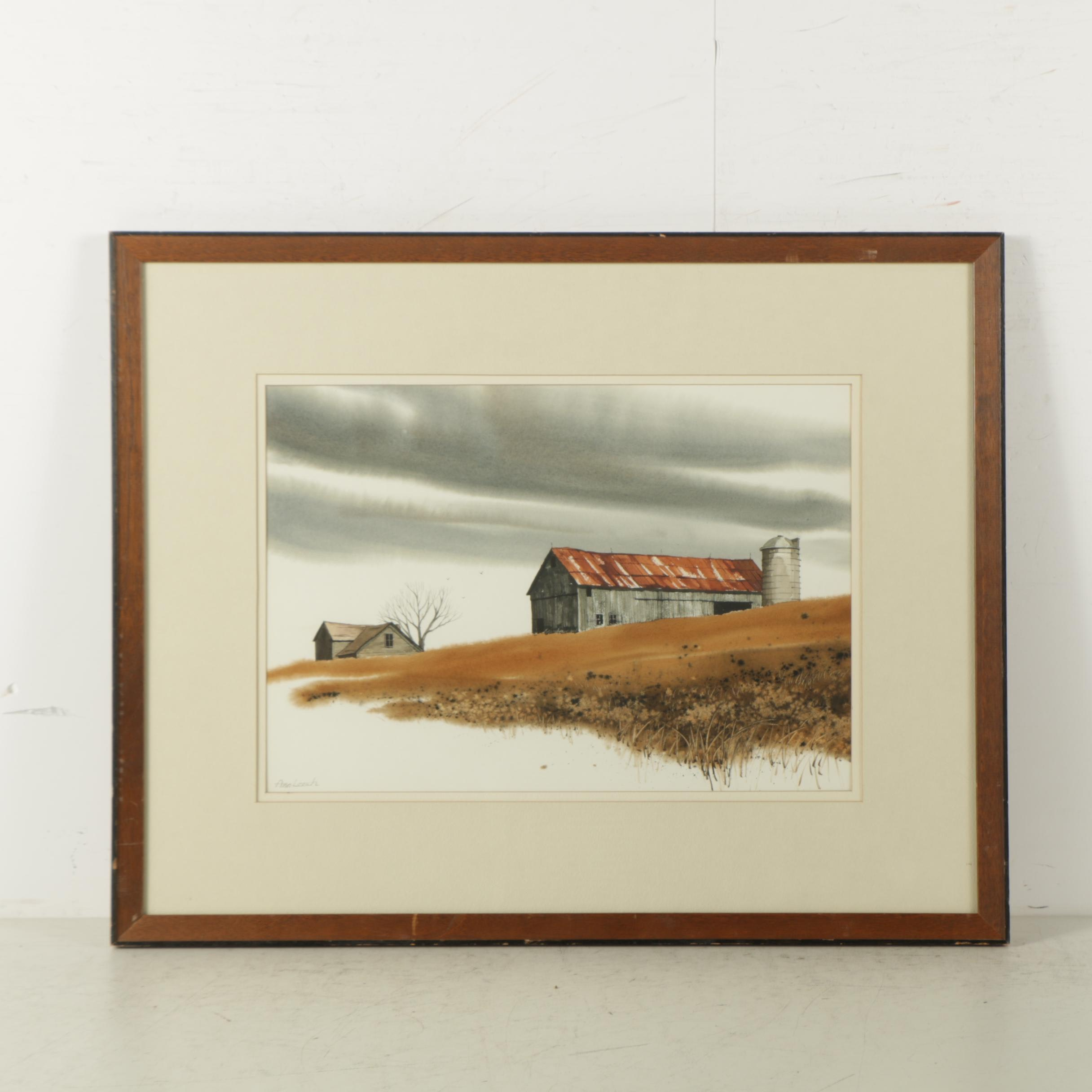 """Ann Leech Watercolor Painting on Paper """"Farm on the Hill"""""""