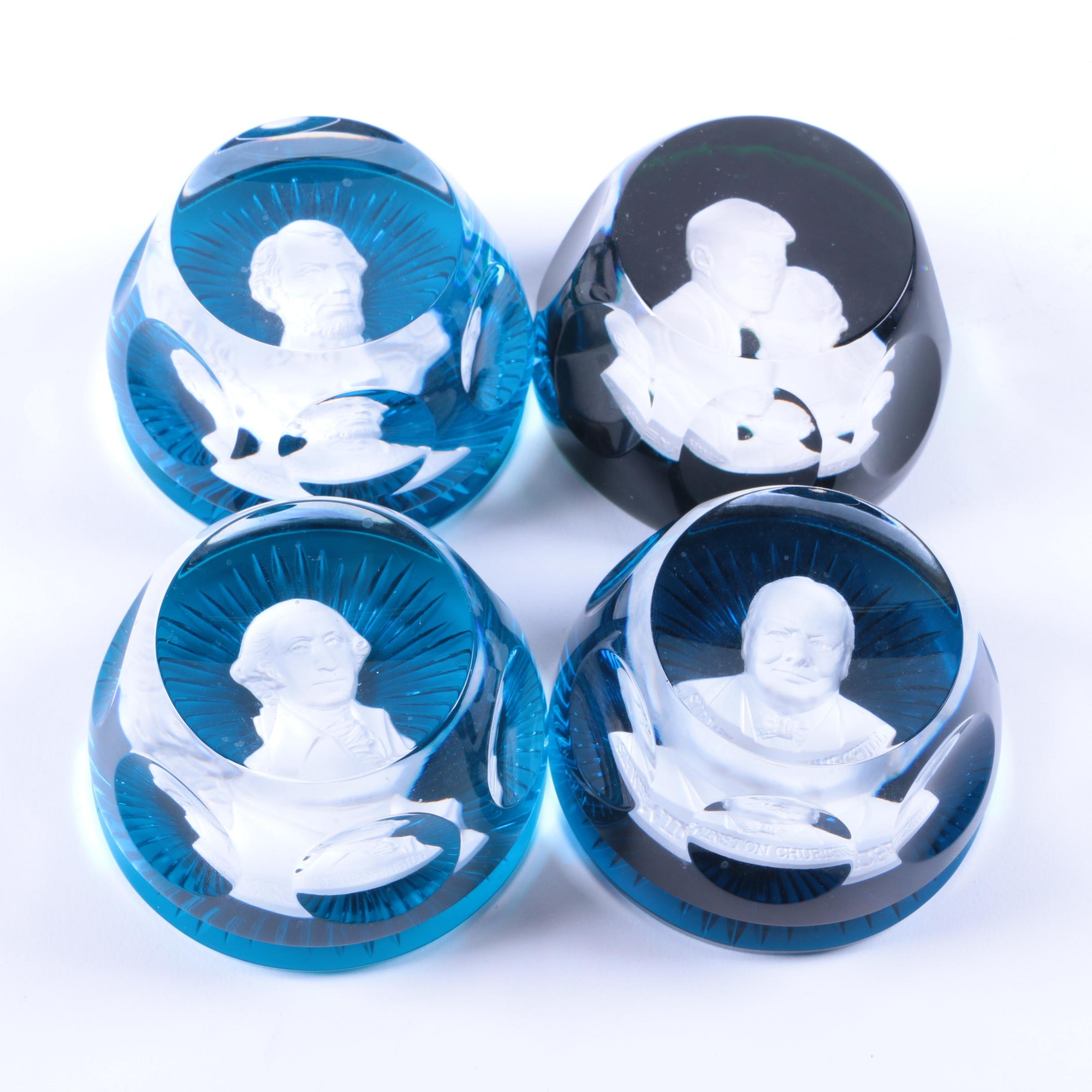 Baccarat Crystal and Franklin Mint Historical Cameo Paperweights