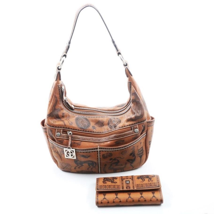 Sarah Capps Hand Decorated Leather Giani Bernini Satchel Handbag and Wallet
