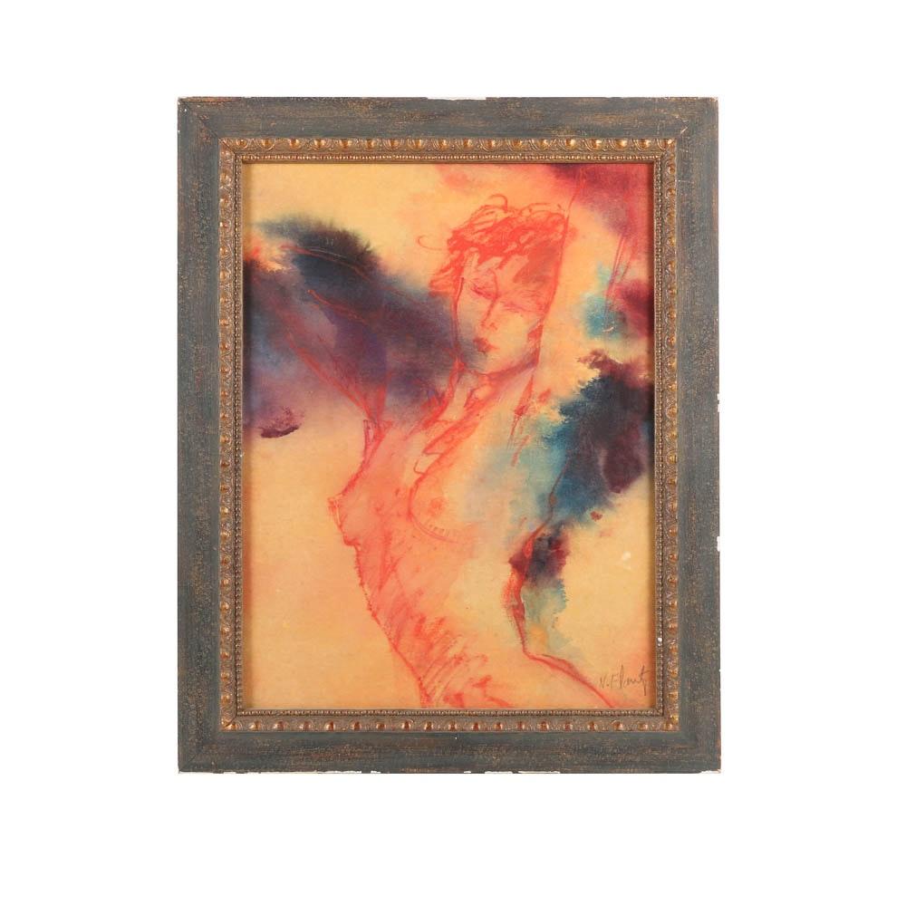 Nitza Flantz Watercolor and Pastel Painting of Figure Study