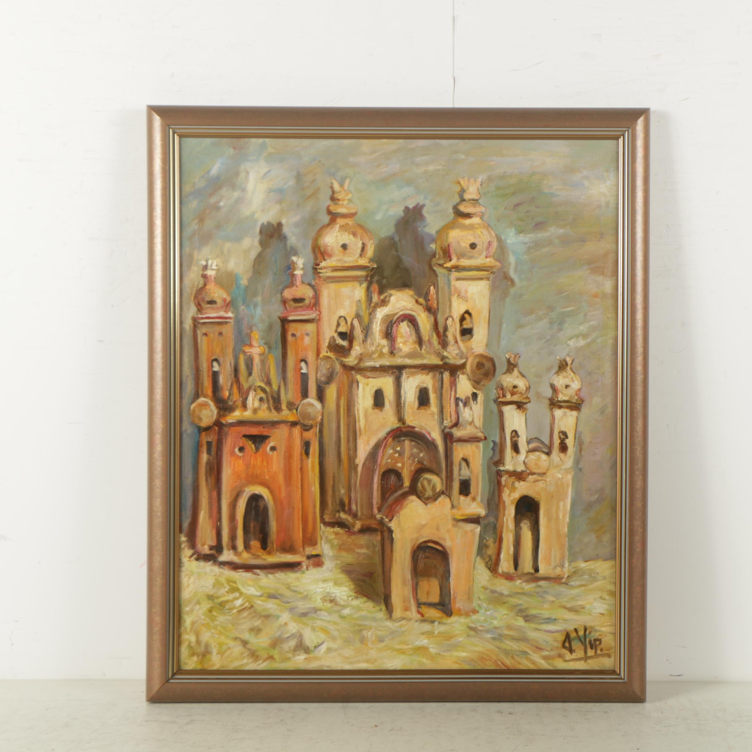 Signed Oil Painting on Canvas of Architecture