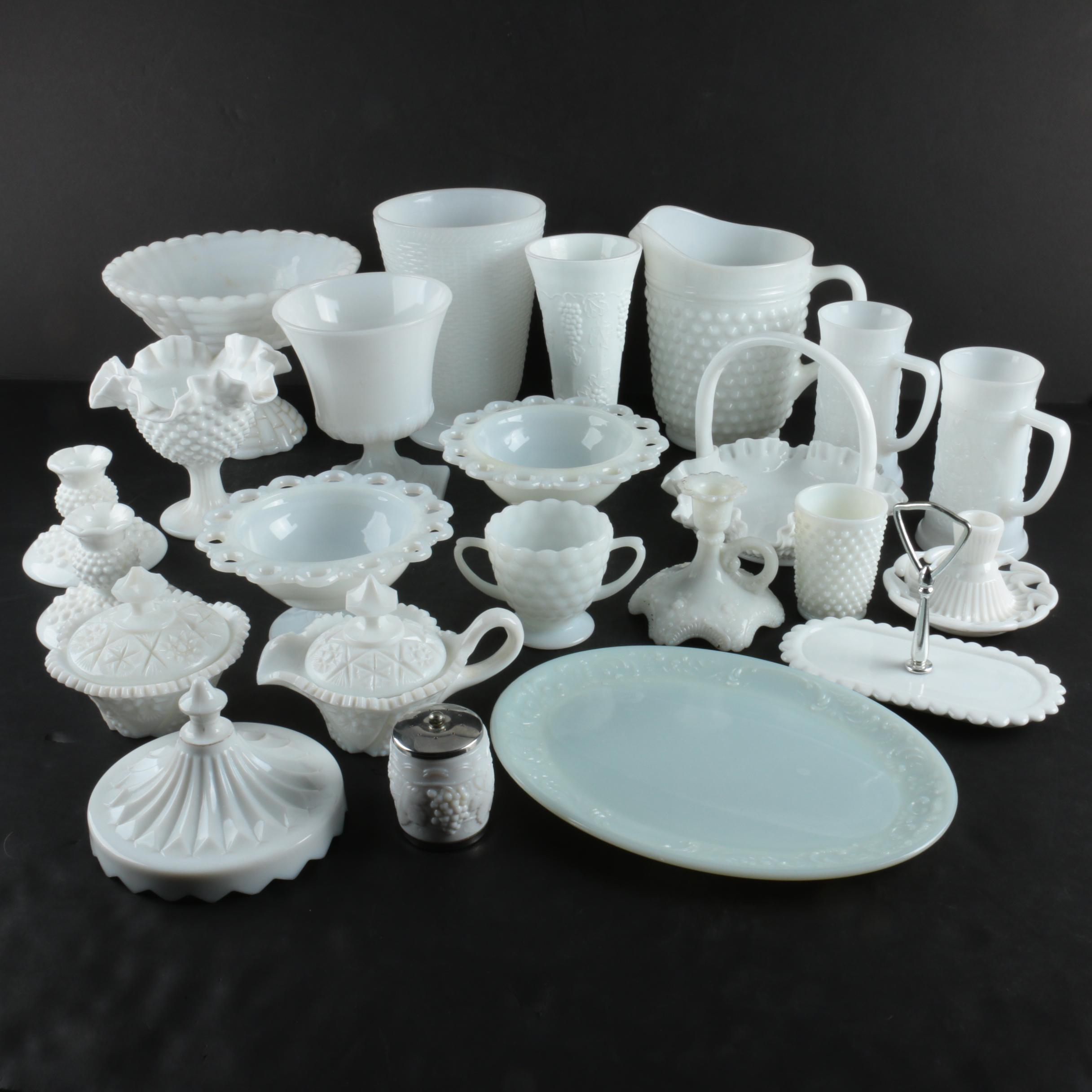 Vintage Milk Glass Tableware Featuring Fenton Hobnail