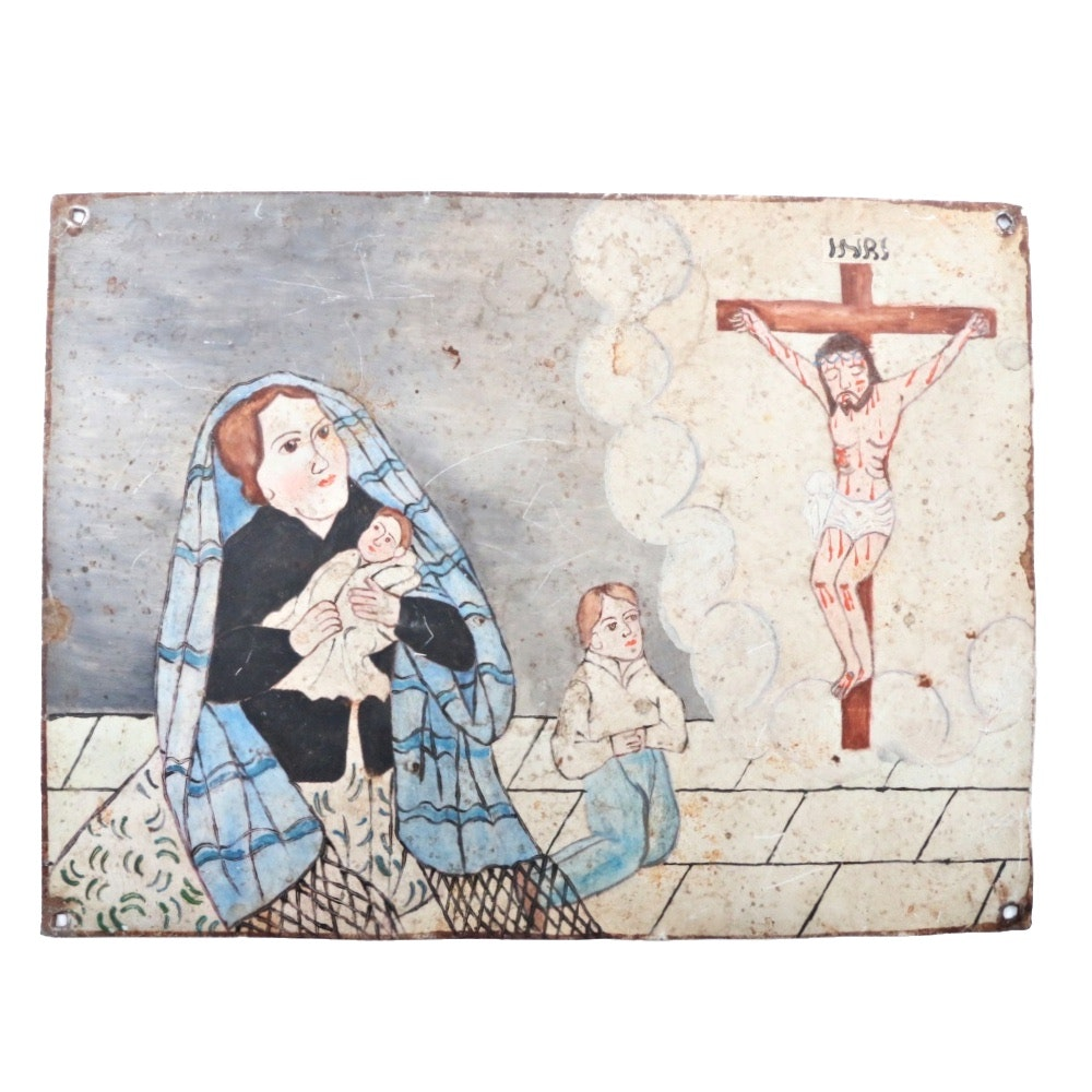 Mexican Ex-Voto Painting on Tin