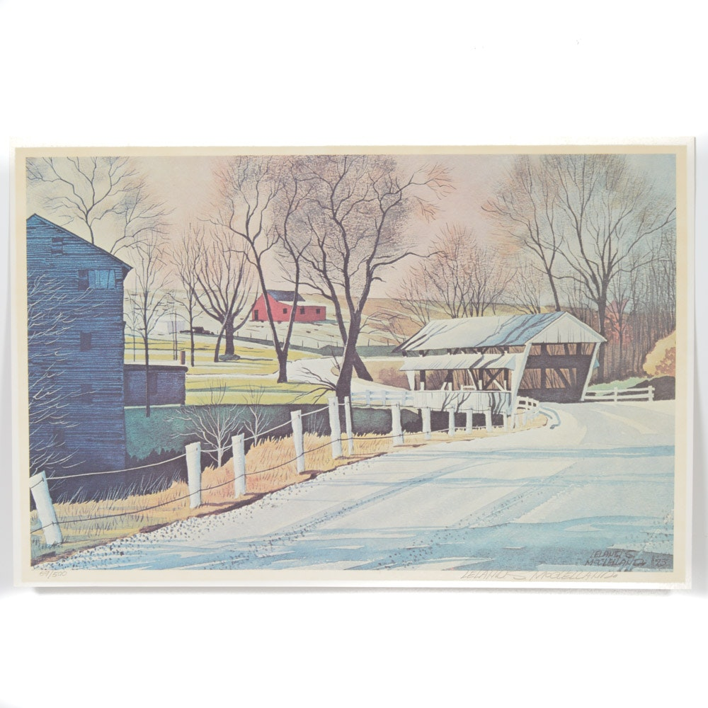 1973 Leland McClelland Limited Edition Offset Lithograph of Covered Bridge