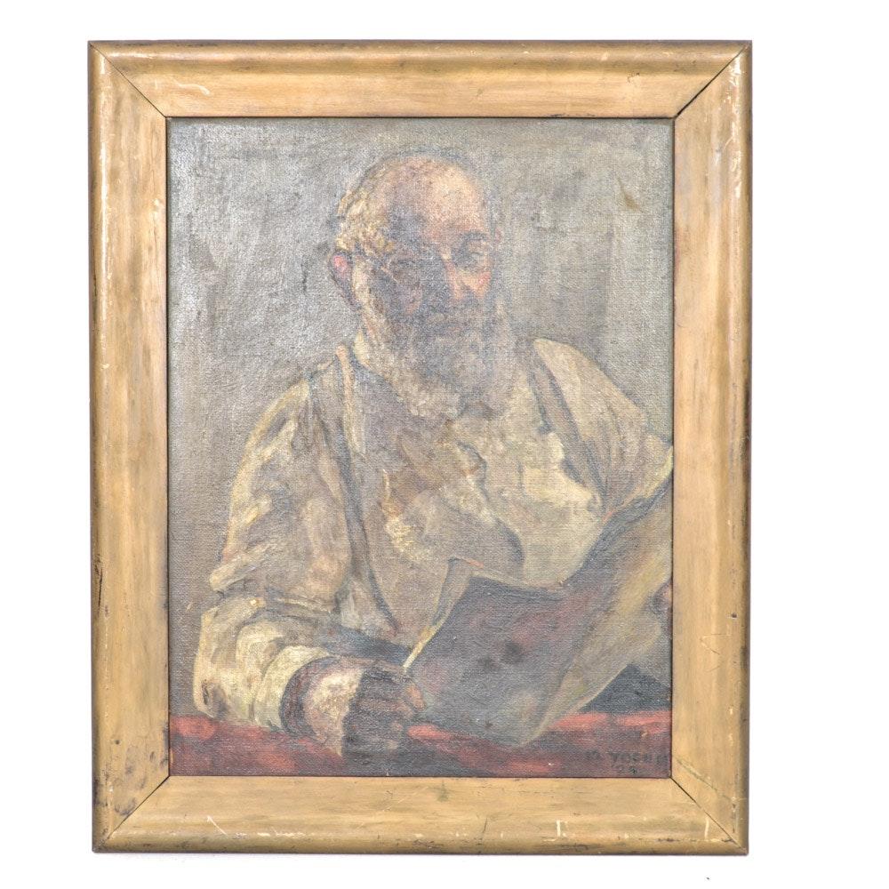 1924 M. Yocum Oil on Canvas Portrait Painting