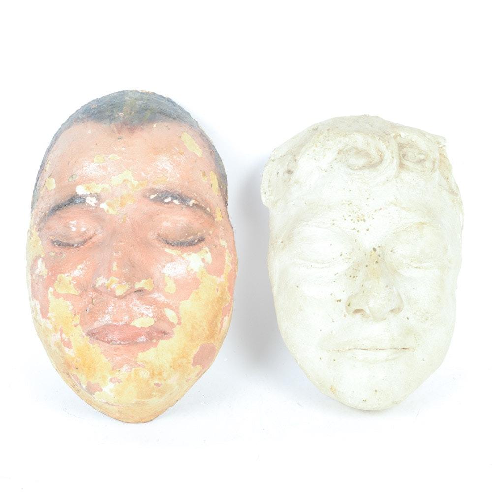 Pair of Cast Plaster Masks