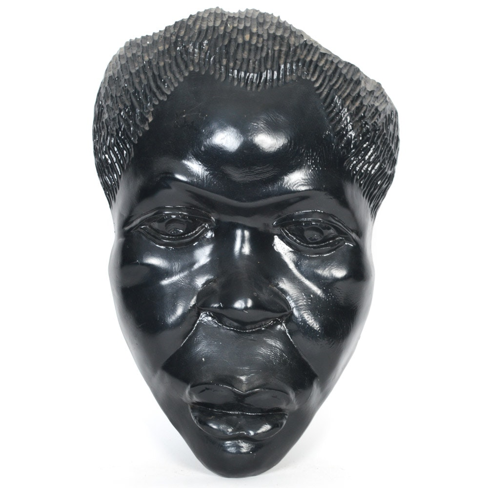 Contemporary Cast Plaster African Wall Mask