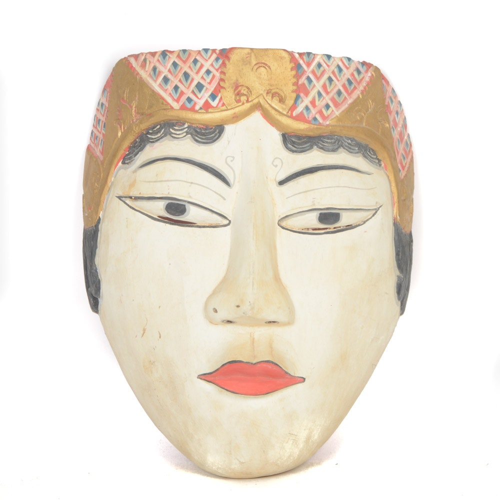 Hand Carved and Hand Painted Indonesian Mask