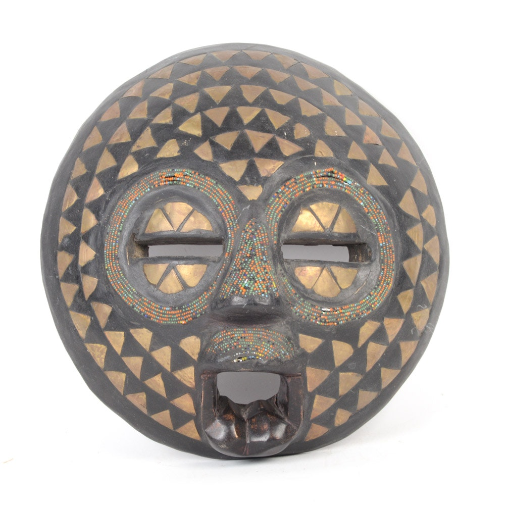 Ghanaian Baluba Ceremonial Mask With Metal Decoration