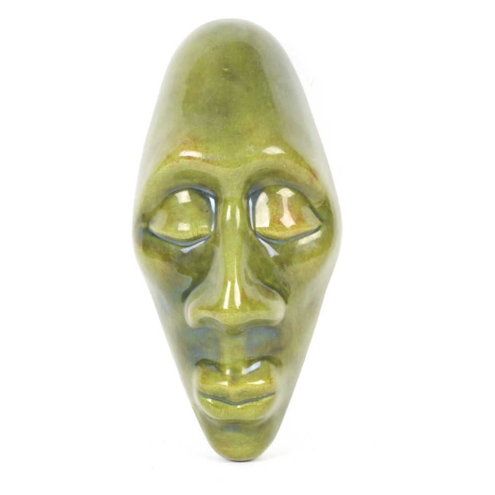 African Mask Themed Ceramic Sculpture