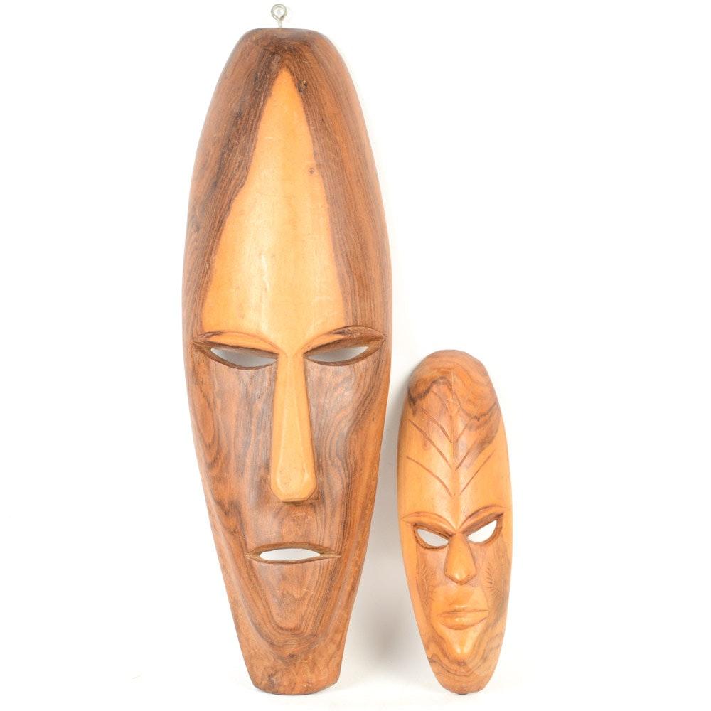 West African Hand Carved Wood Masks