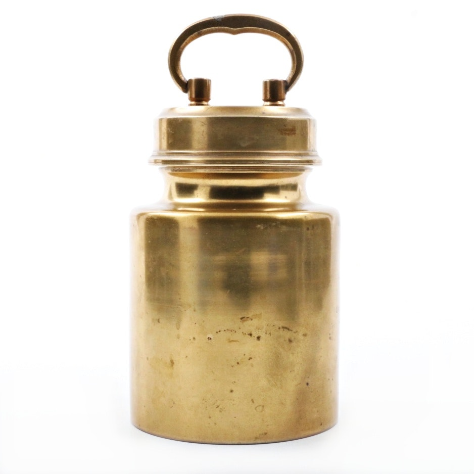 Antique Brass Thermos with Screw Top Lid and Fitted Interior Cup