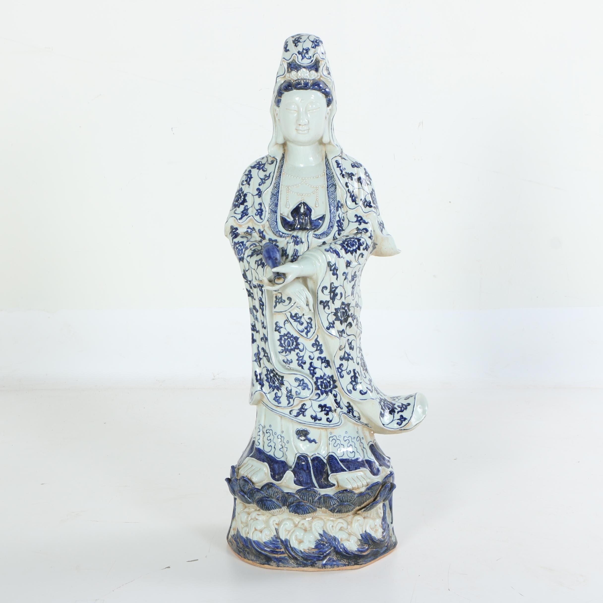 Chinese Guanyin Blue and White Hand-Painted Ceramic Figurine