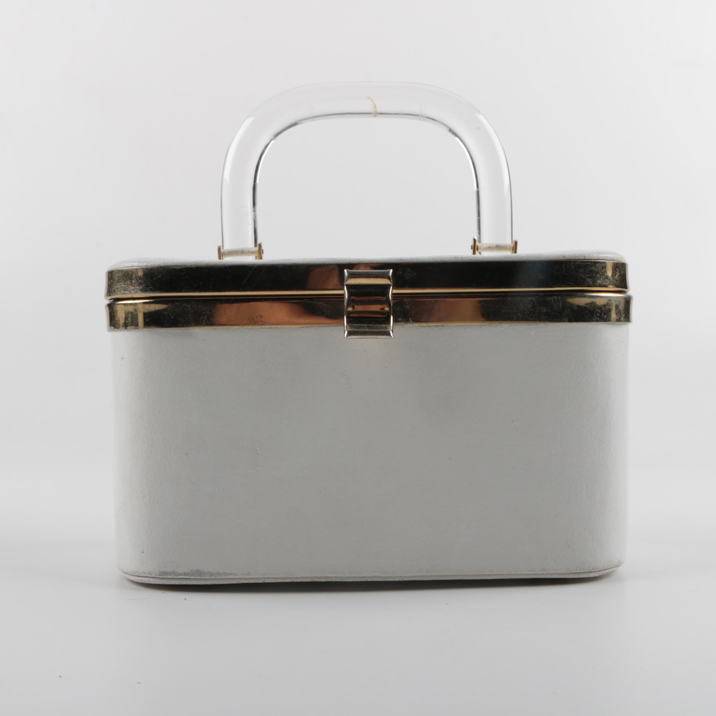 Vintage Box Purse with Clear Lucite Handle