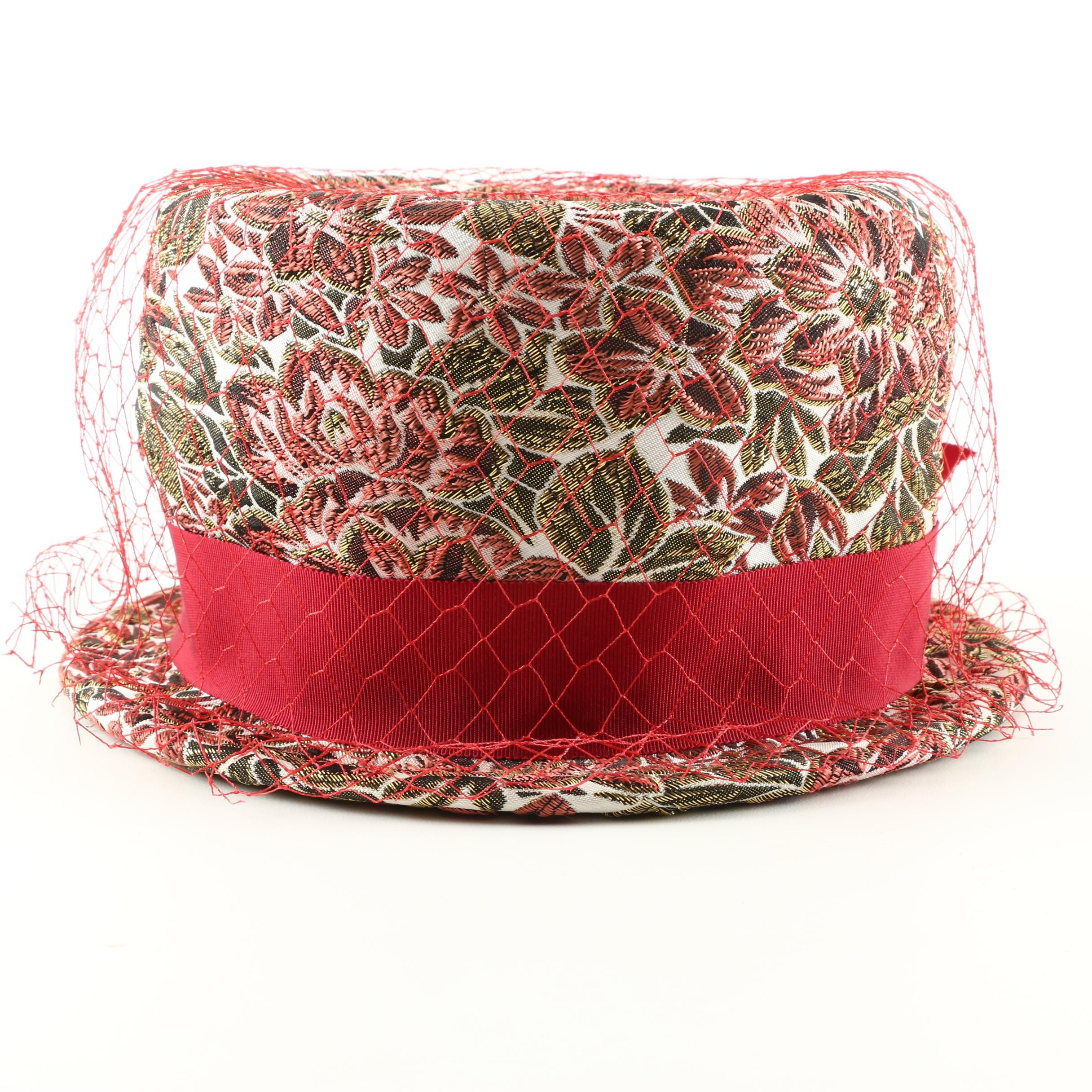 Vintage Mr. Henri Netted Floral Brocade Hat