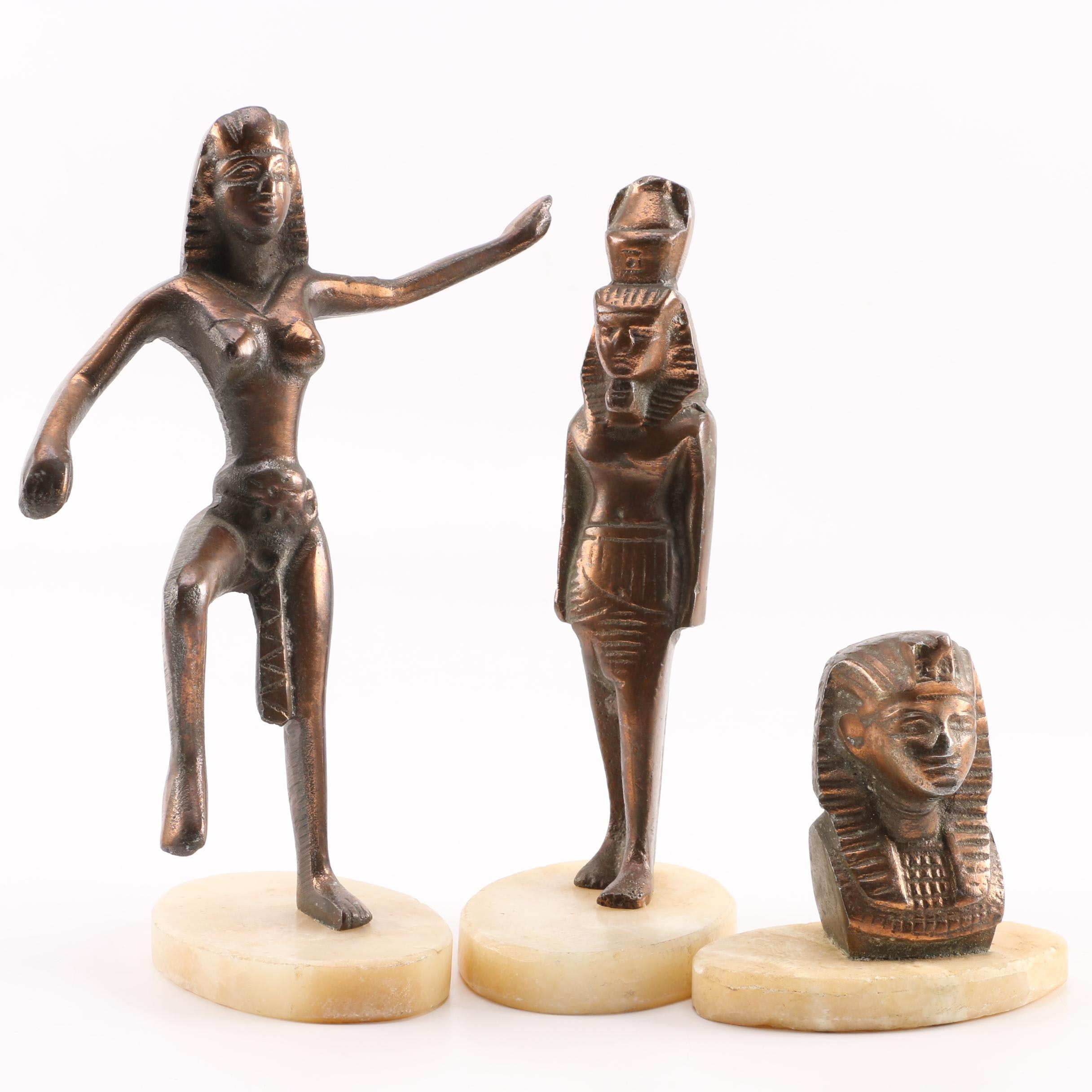 Metal Egyptian Figurines on Alabaster Bases
