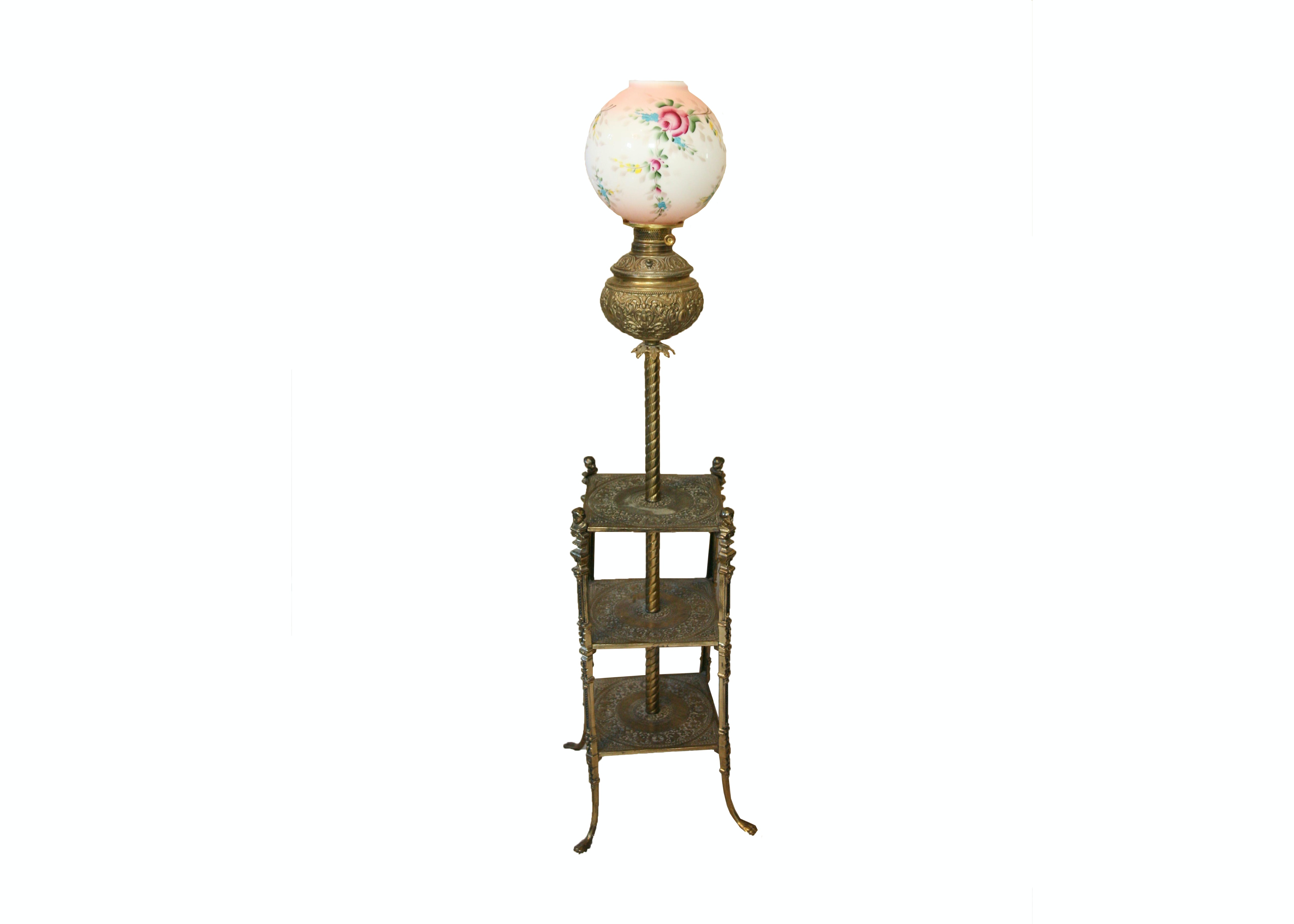 Vintage Parlor Tray Table Floor Lamp