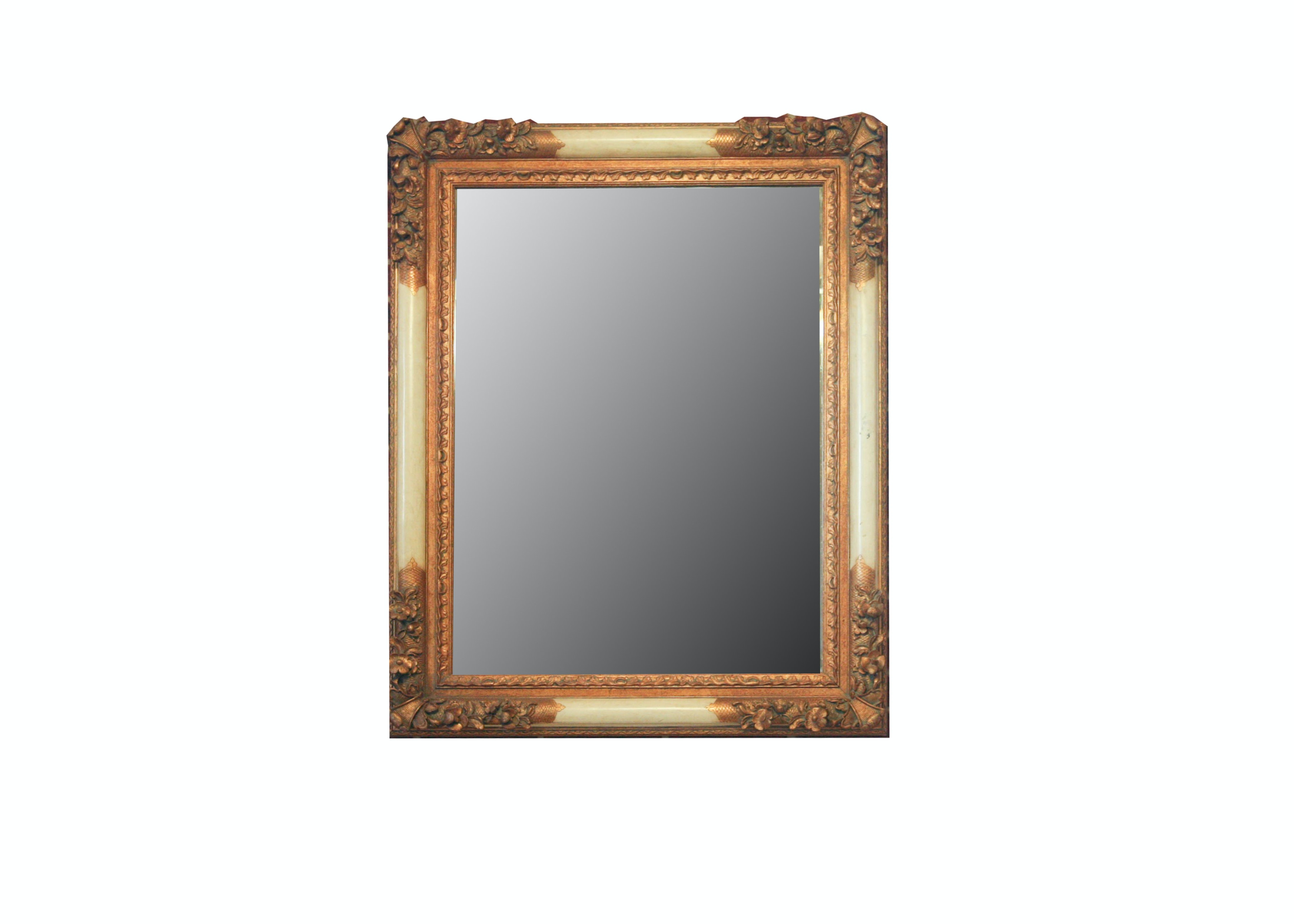 Large Wall Mirror with Carved Wood Frame