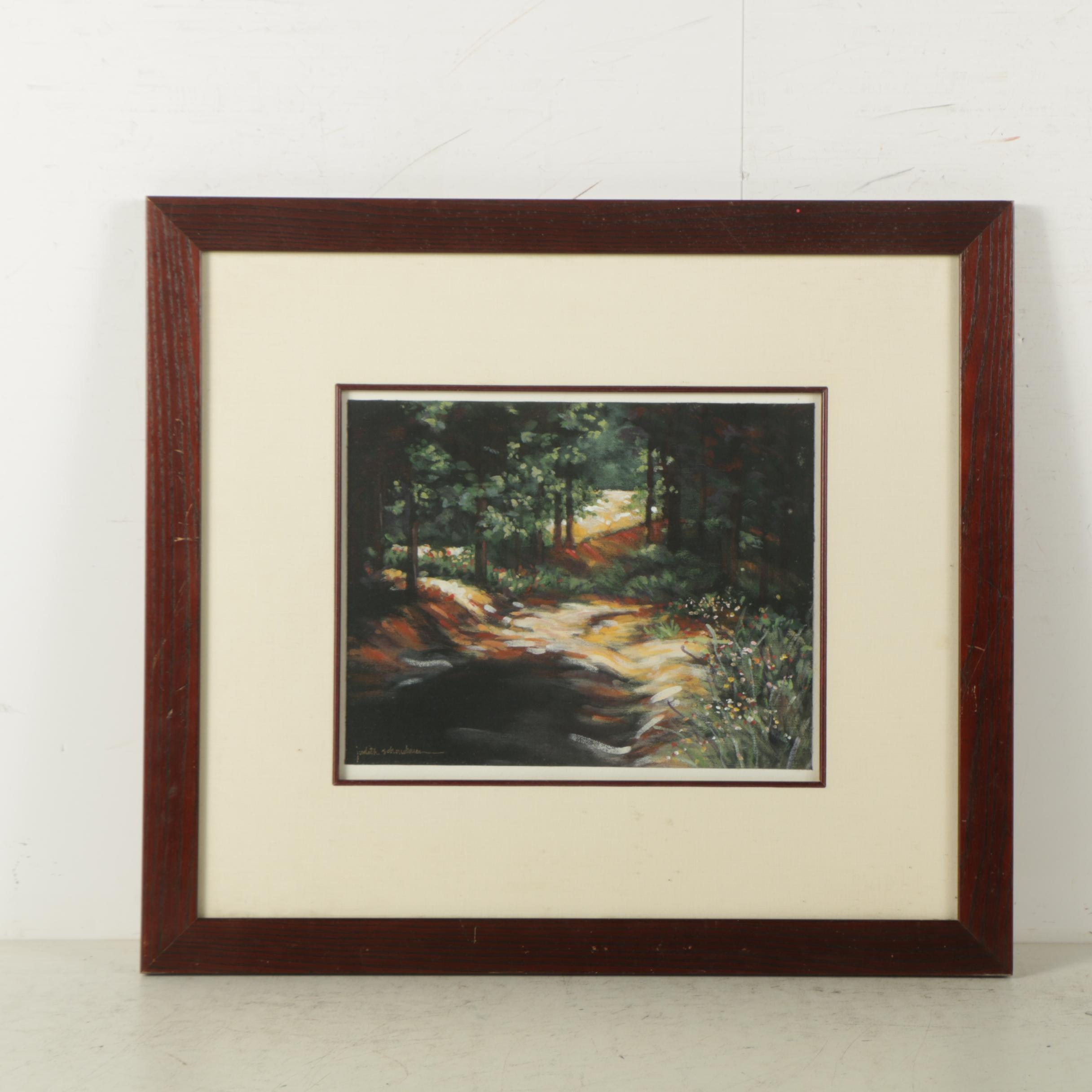 Judith Schonebaum Oil Painting on Canvas of Forest Landscape