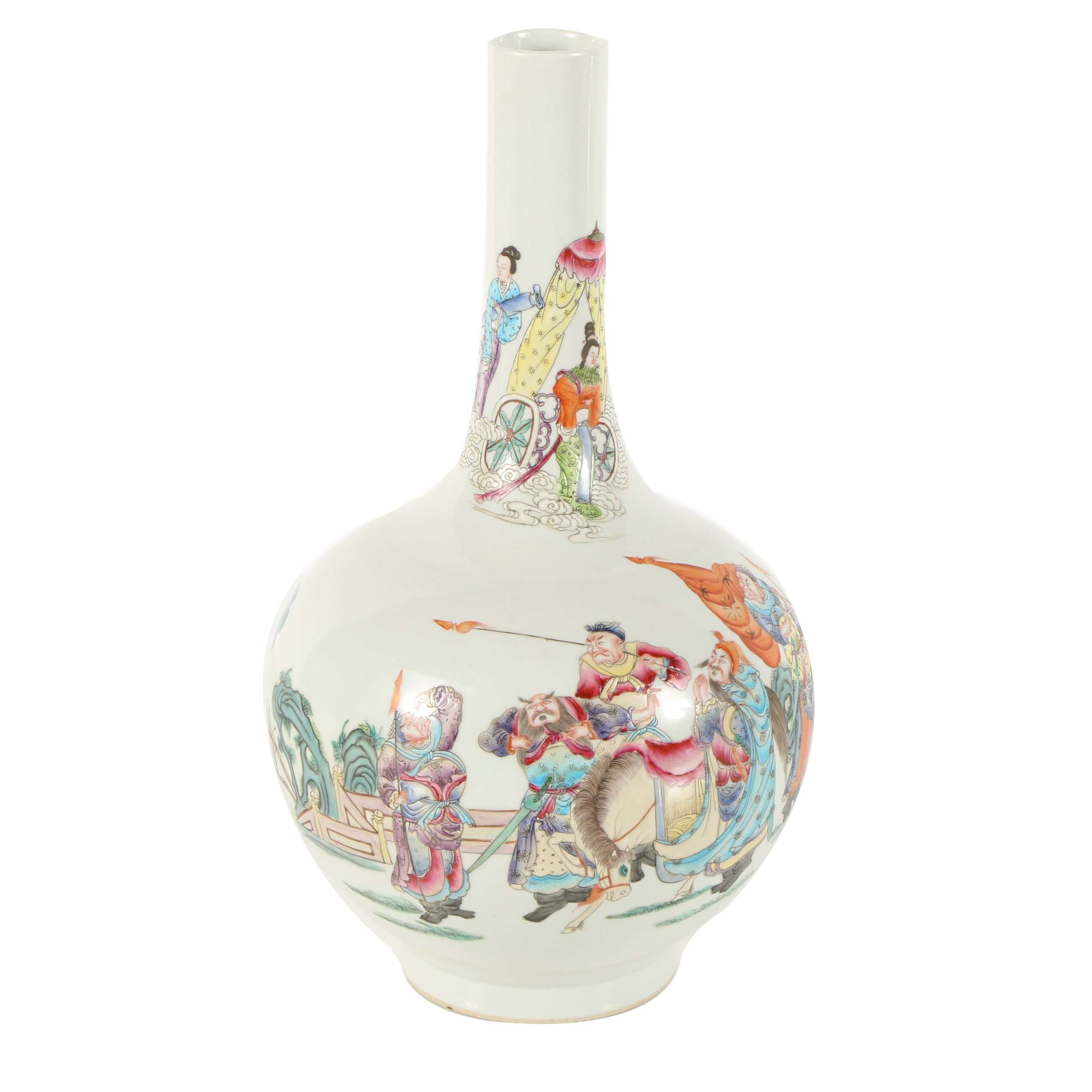 East Asian-Inspired Porcelain Vase with Painted and Engraved Figurative Scene
