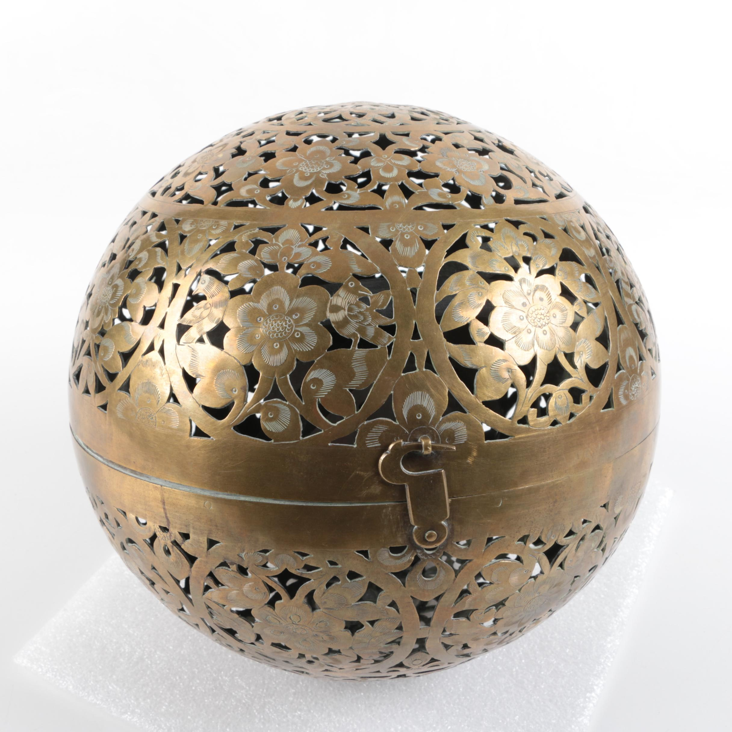 Pierced and Chased Foliate Brass Incense Burner