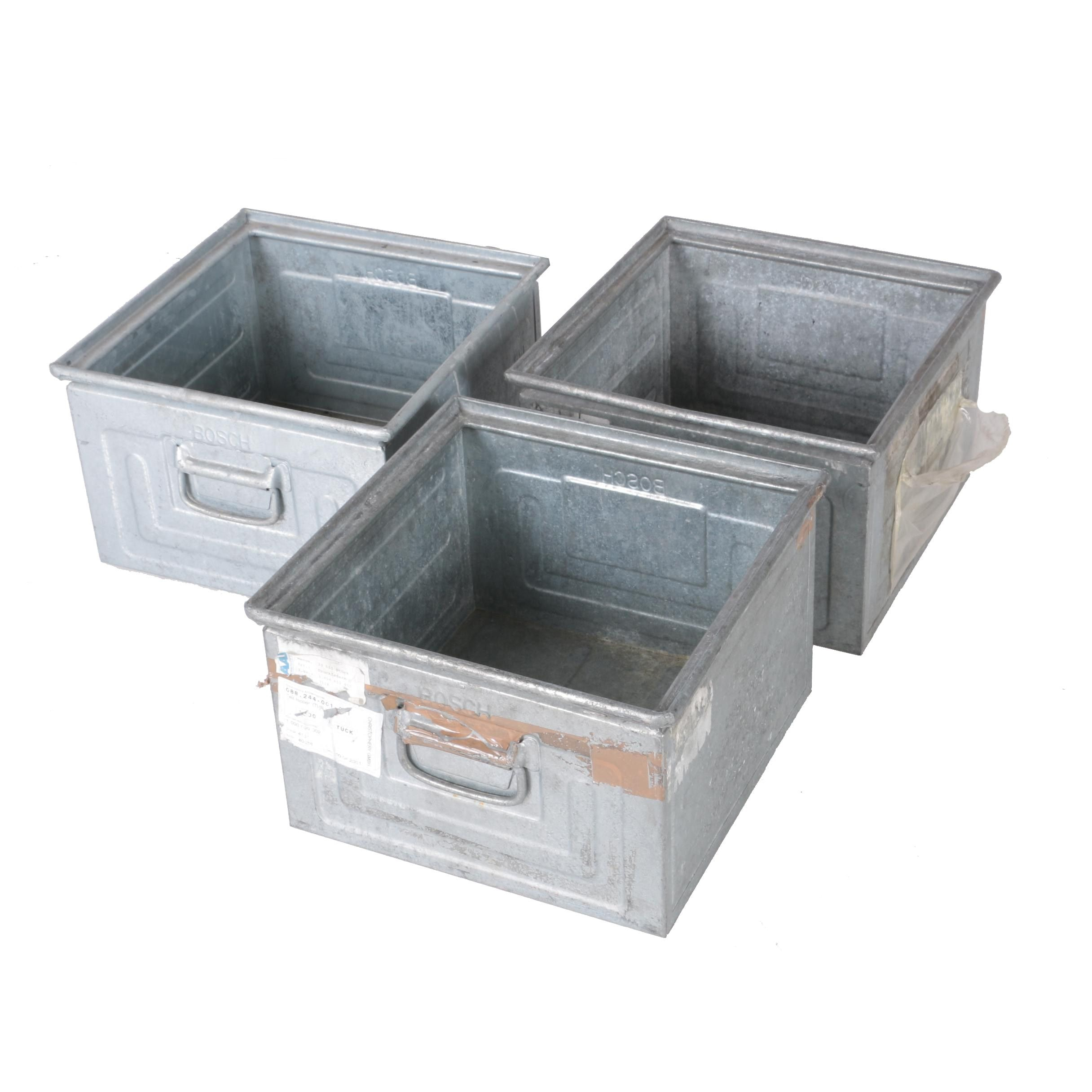 Three Vintage Galvanized Metal Bins
