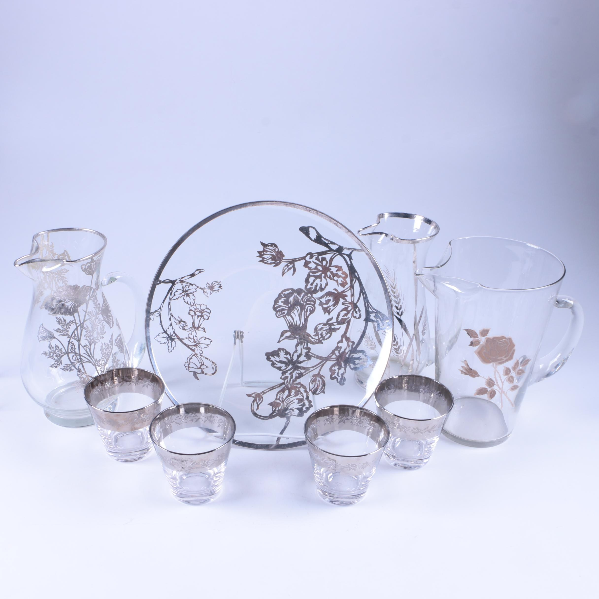 Silver Overlay Clear Glass Tumblers, Pitchers and Tray