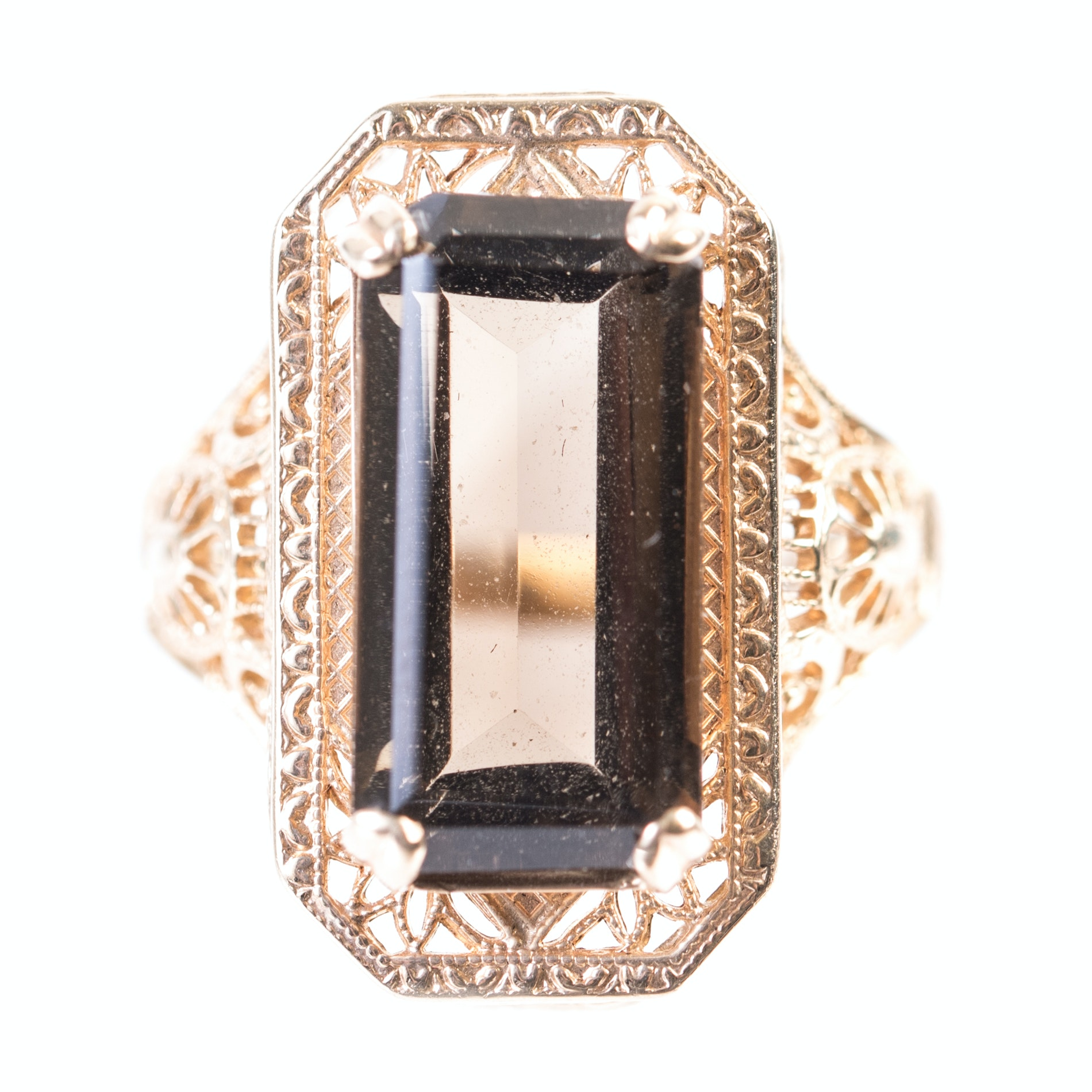10K Yellow Gold and 5.26 Carat Smoky Quartz Filigree Ring