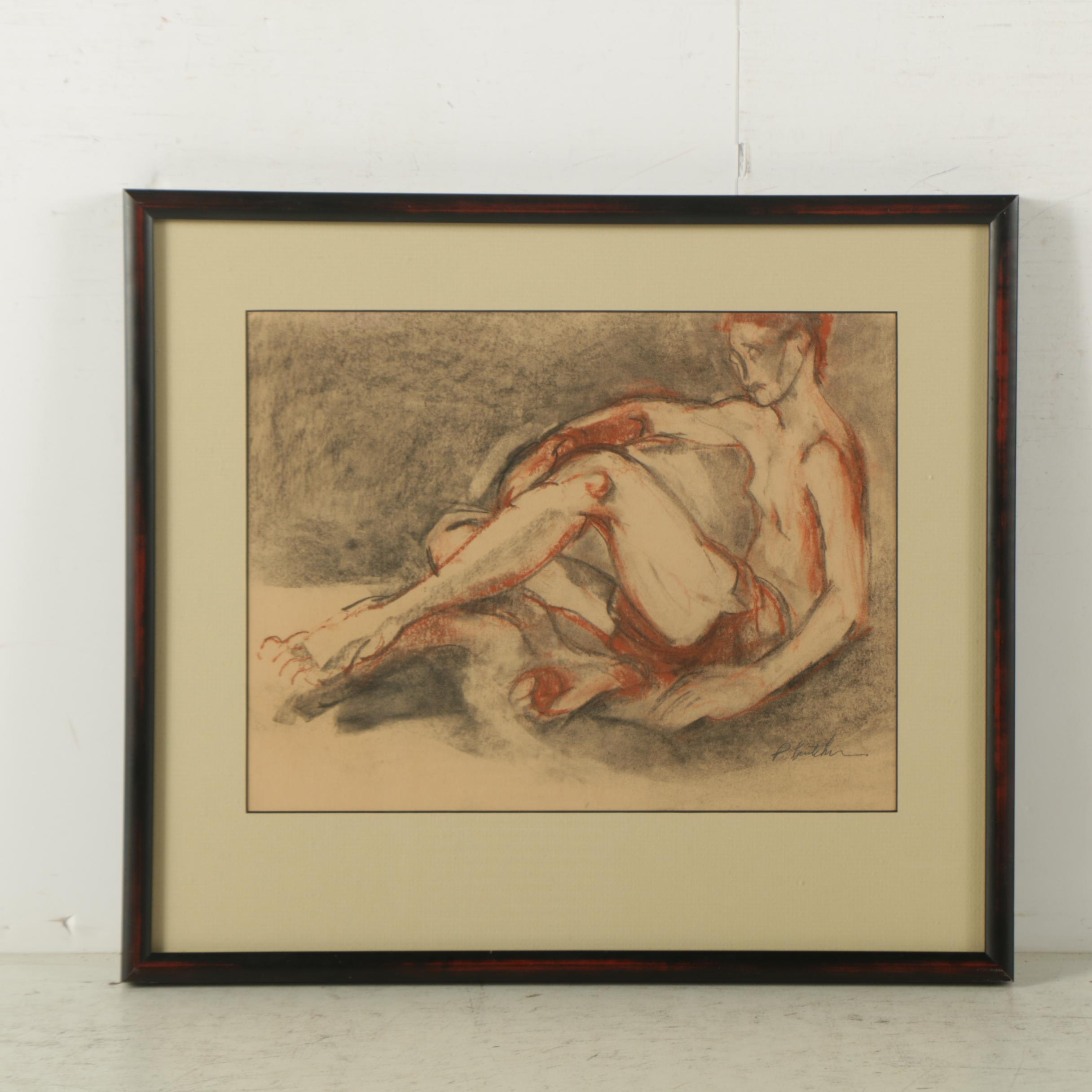 Lithograph on Paper After Drawing of Figure Study