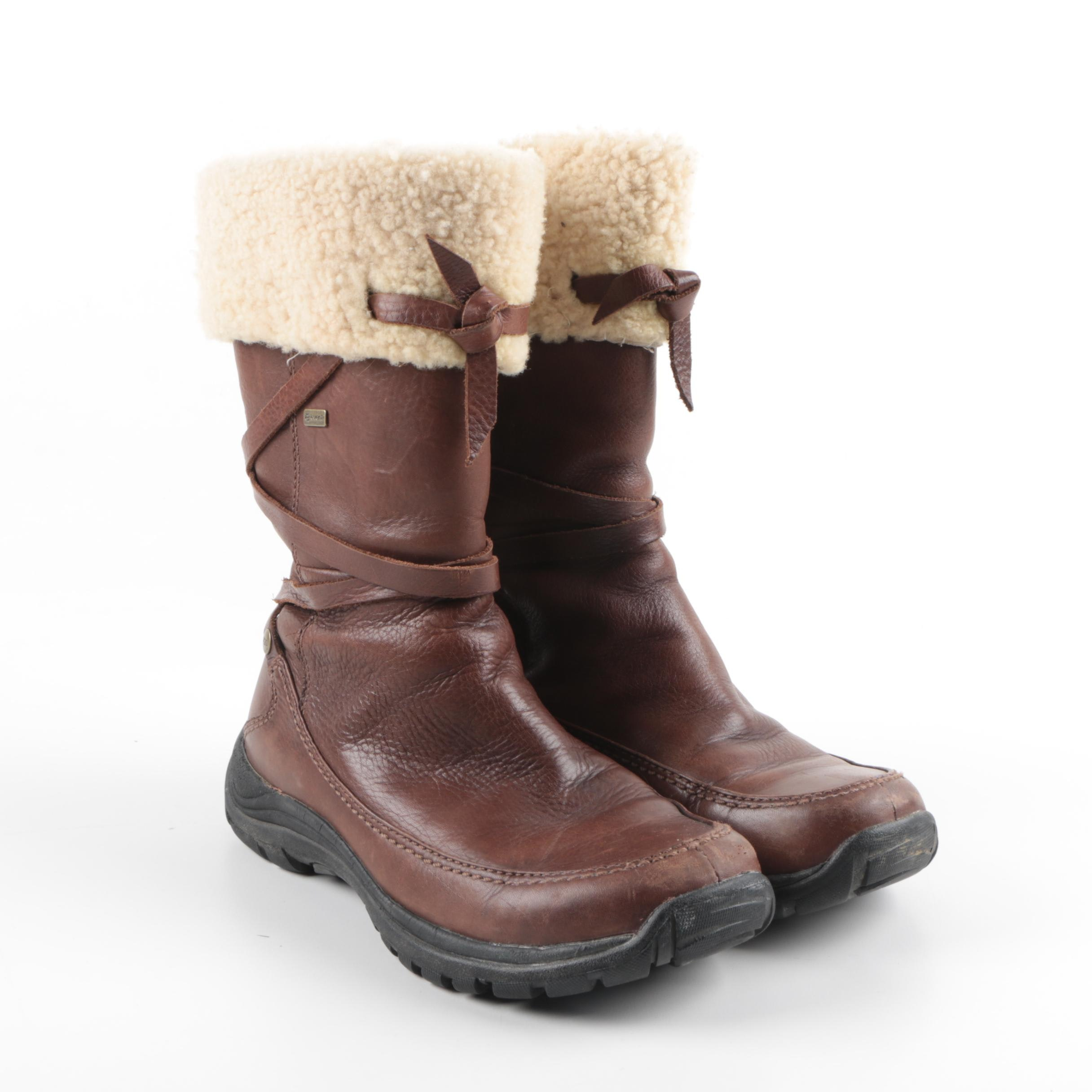 UGG Australia Brown Leather and Shearling Boots