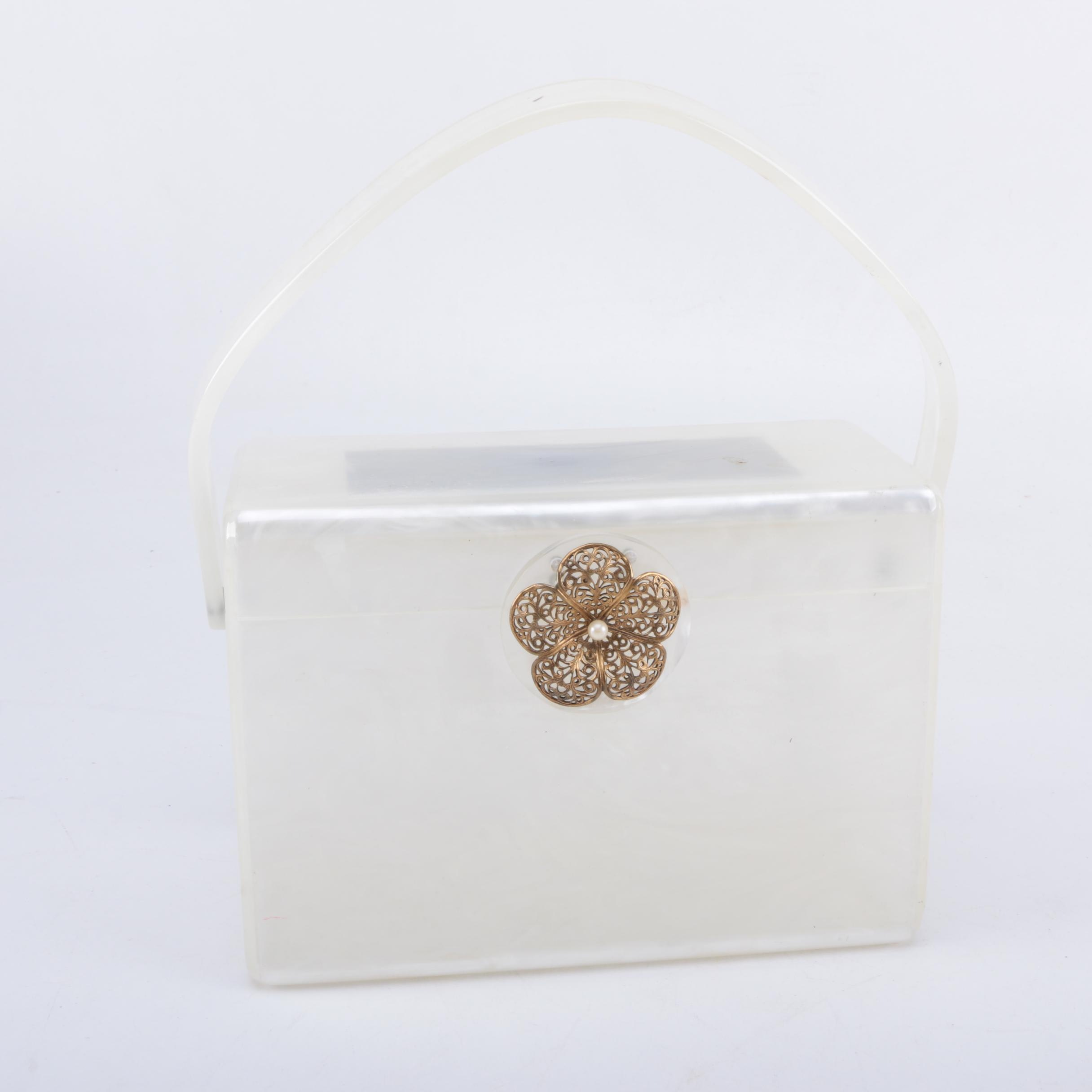 Vintage Wilardy Lucite Handbag with Brass Floral Clasp