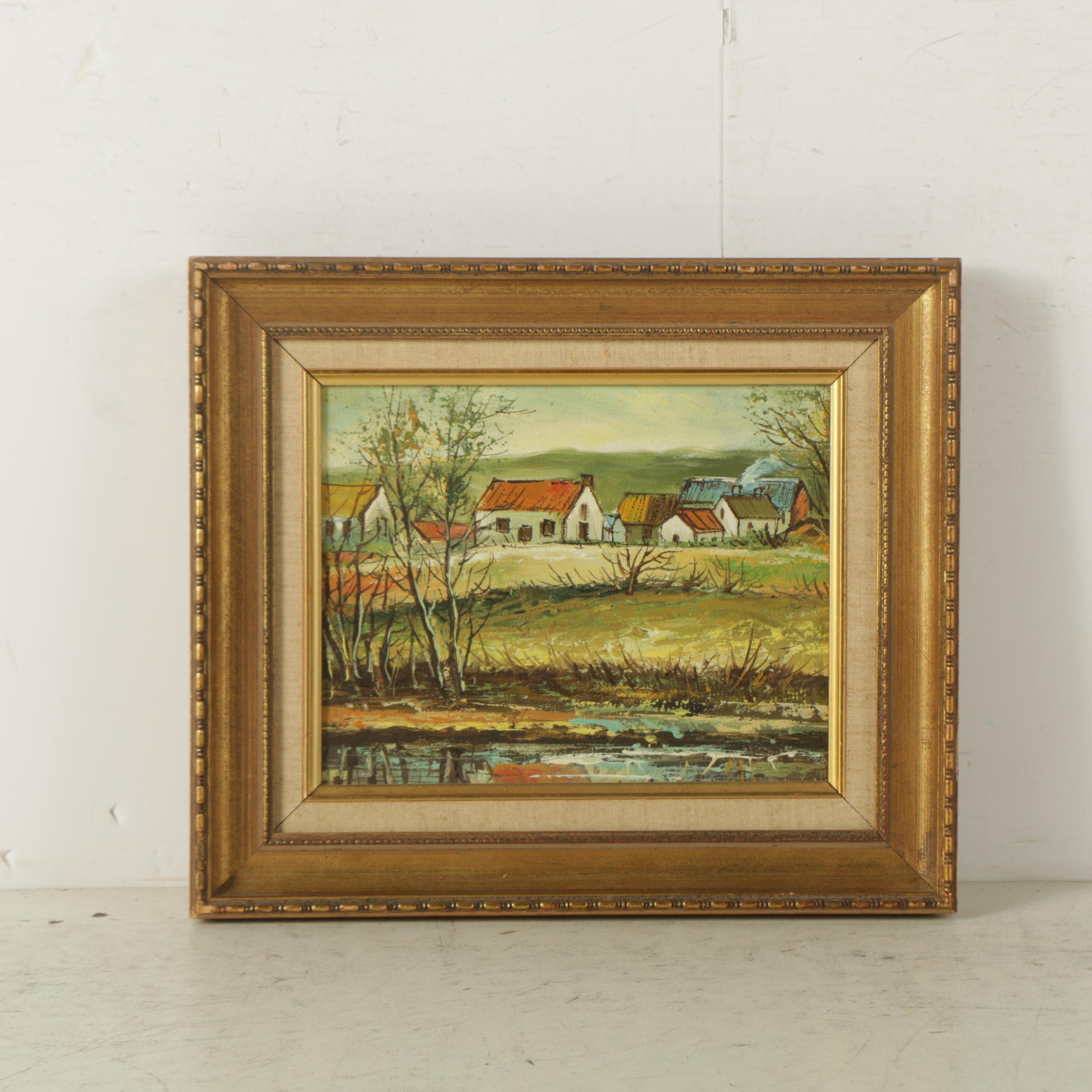 Oil Painting on Canvas of Rural Town Scene