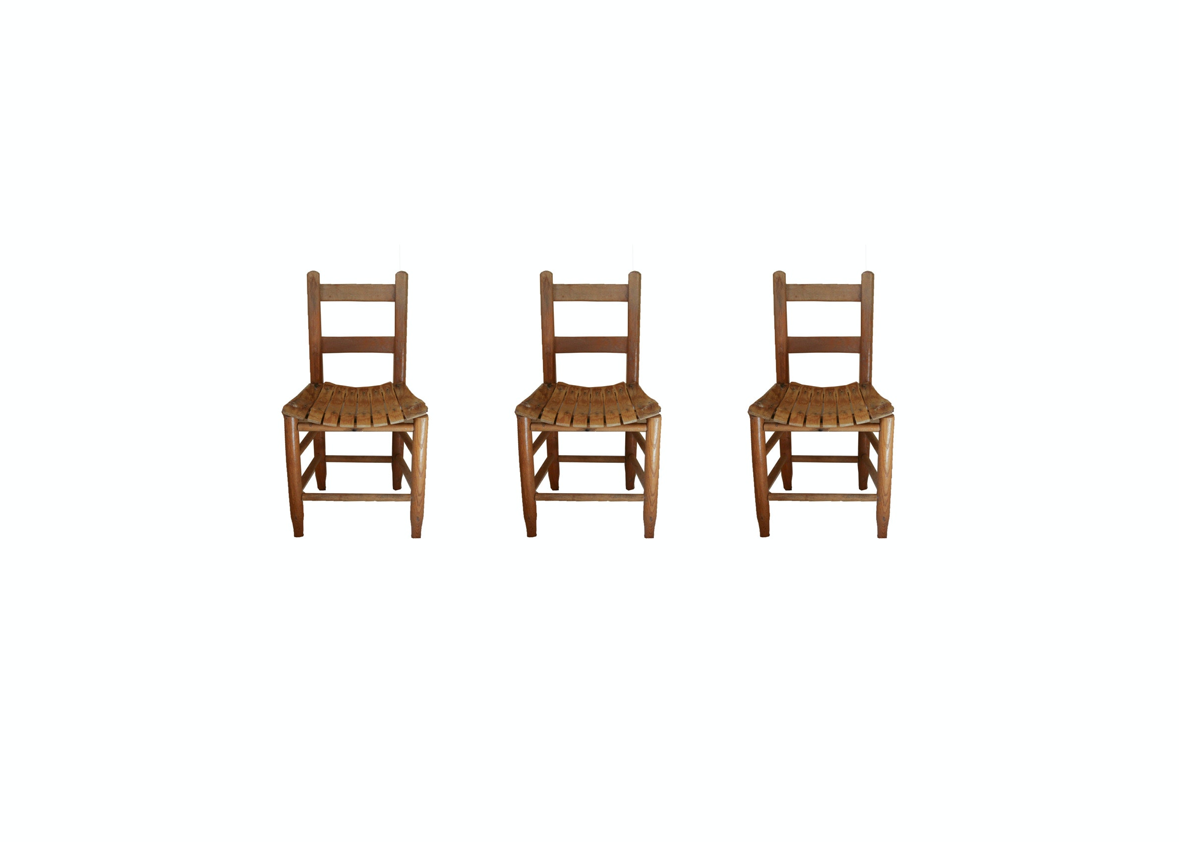 Three Oak Children's Chairs With Slat Seats