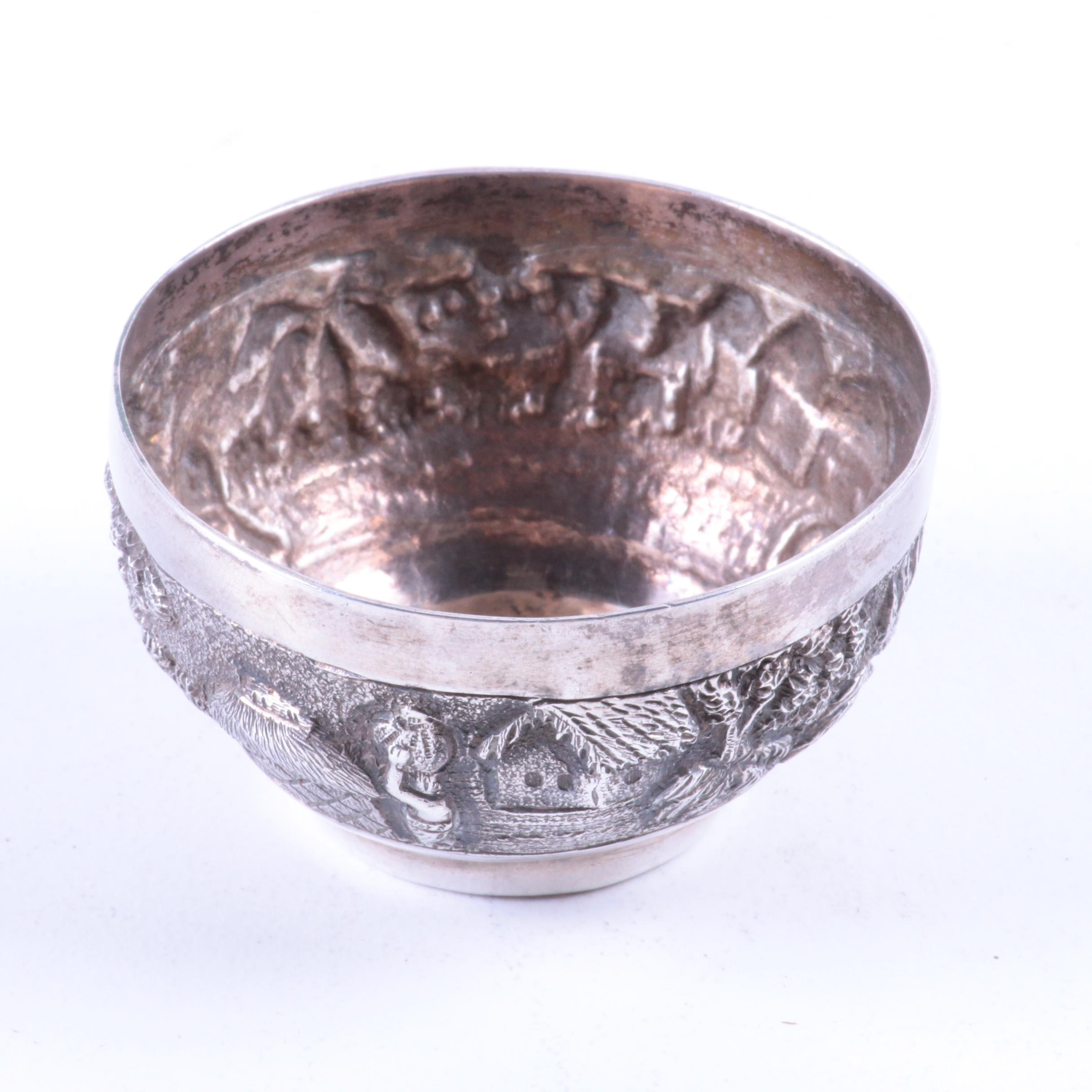 Southeast Asian Repoussé Sterling Silver Salt Cellar
