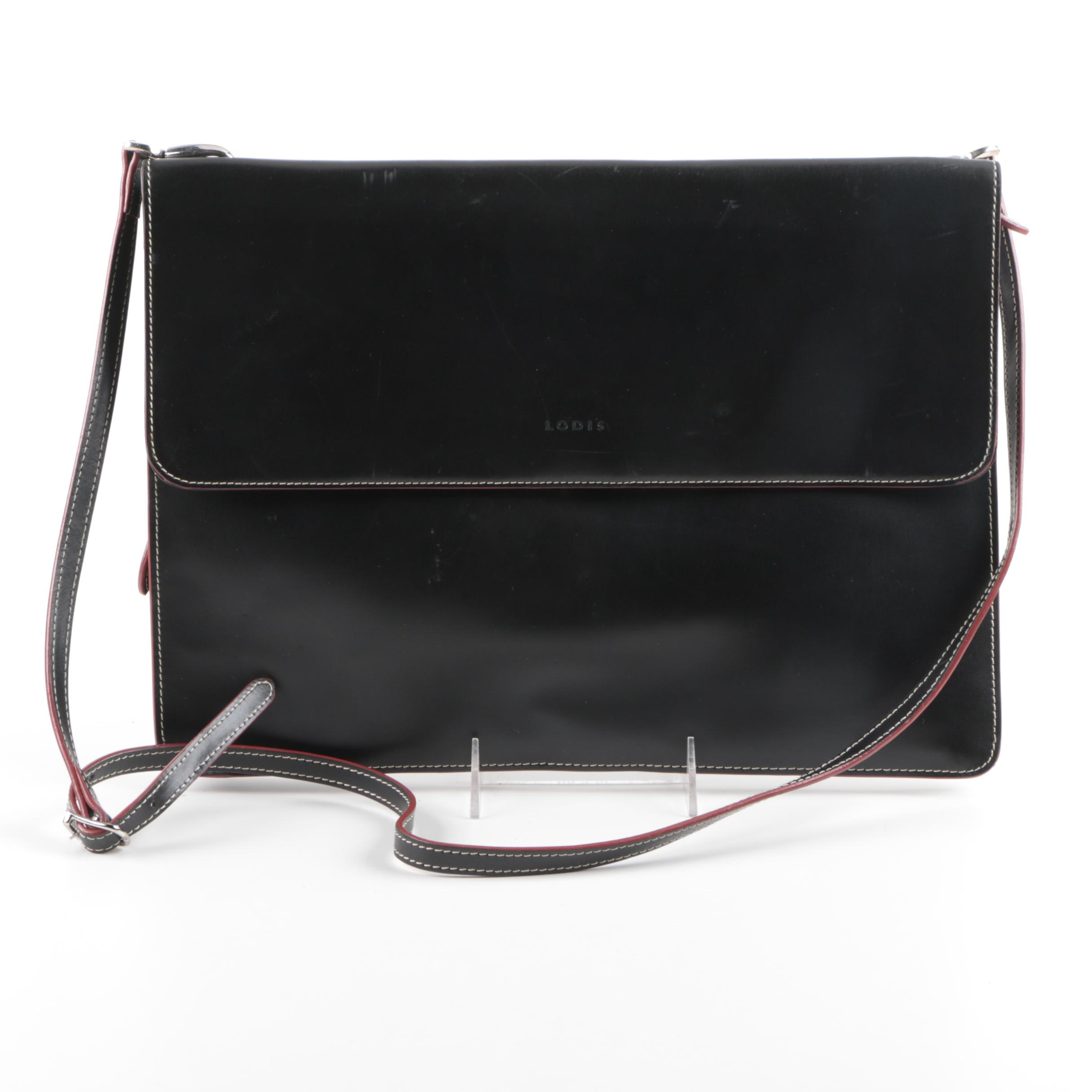 Lodis Black Leather Envelope Briefcase