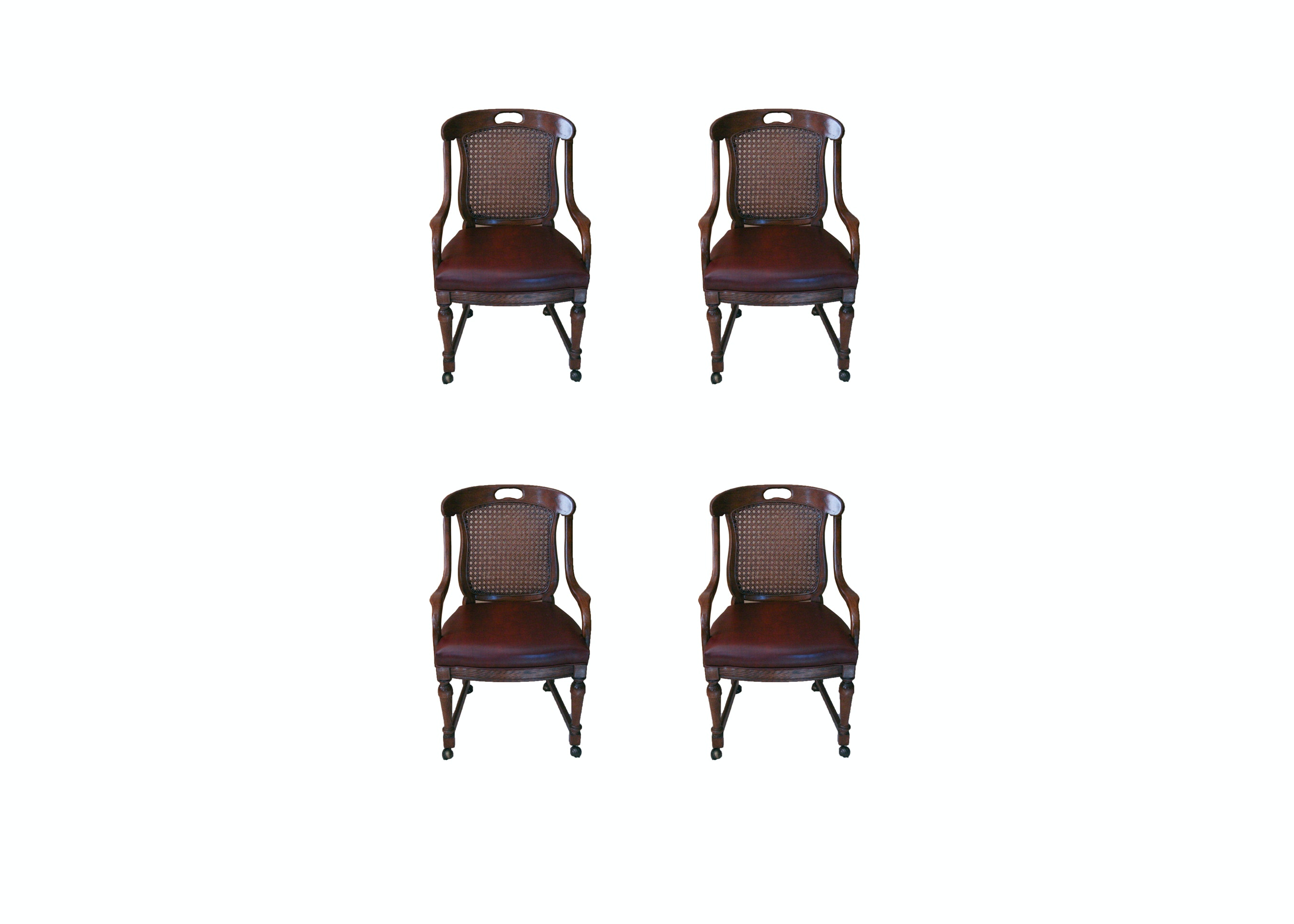 Set of Four Oak Caned Back Arm Chairs