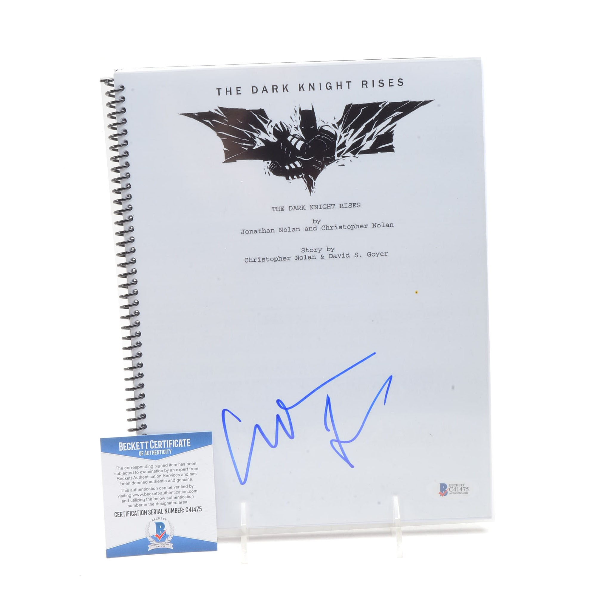 "Christian Bale Signed ""Dark Knight Rises"" Script  COA"