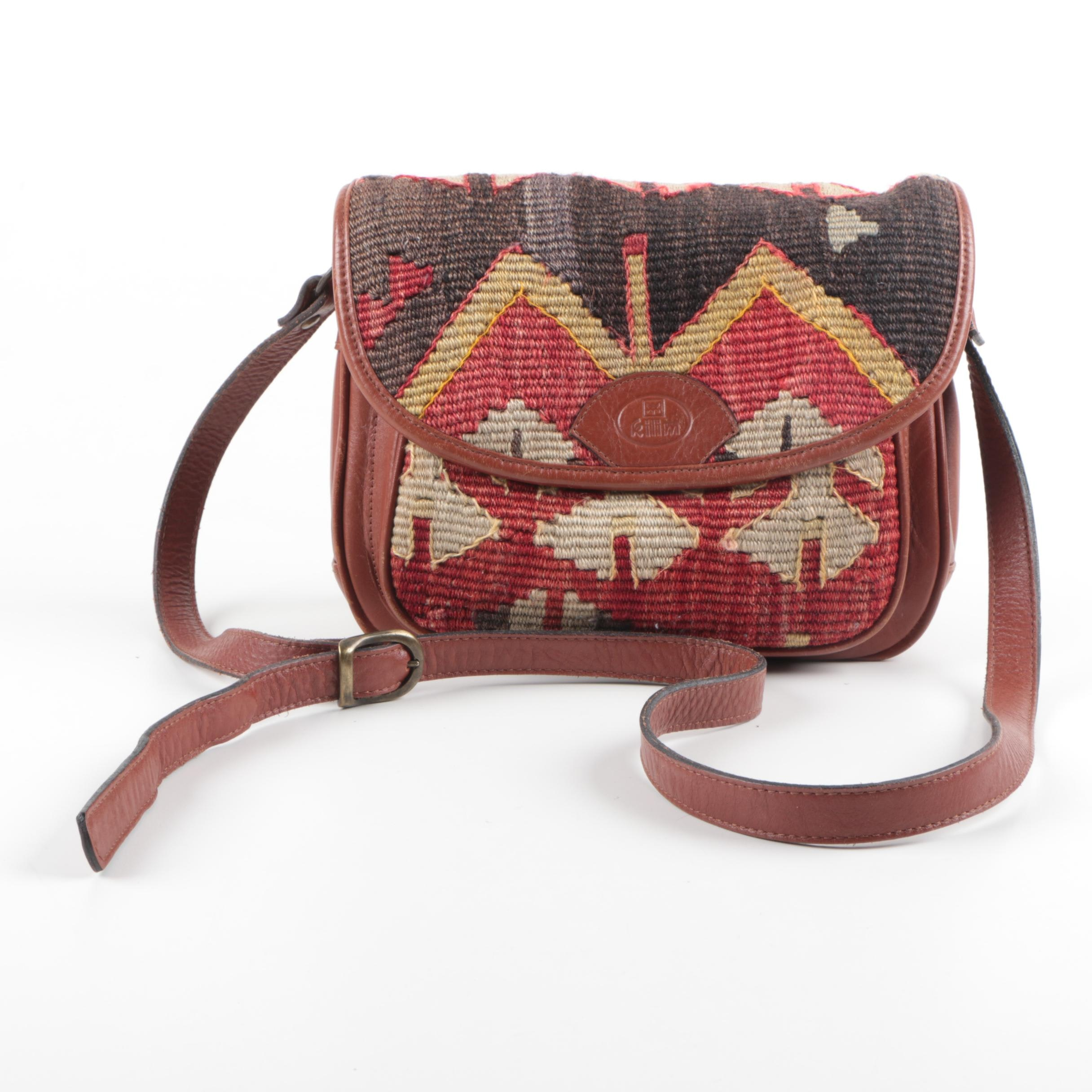 Kilim Textile and Leather Shoulder Bag