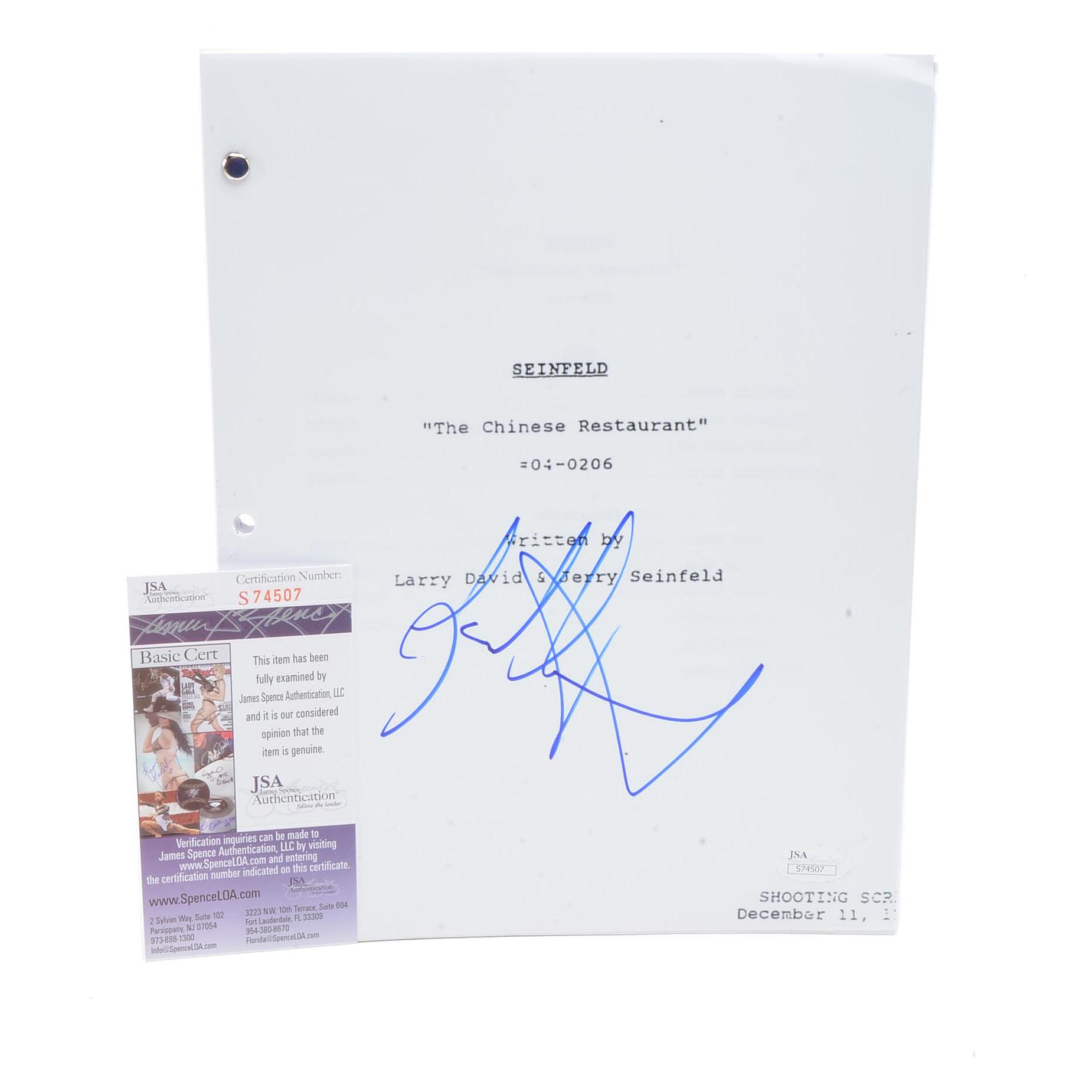 "Jason Alexander Signed ""Seinfeld"" Script  COA"