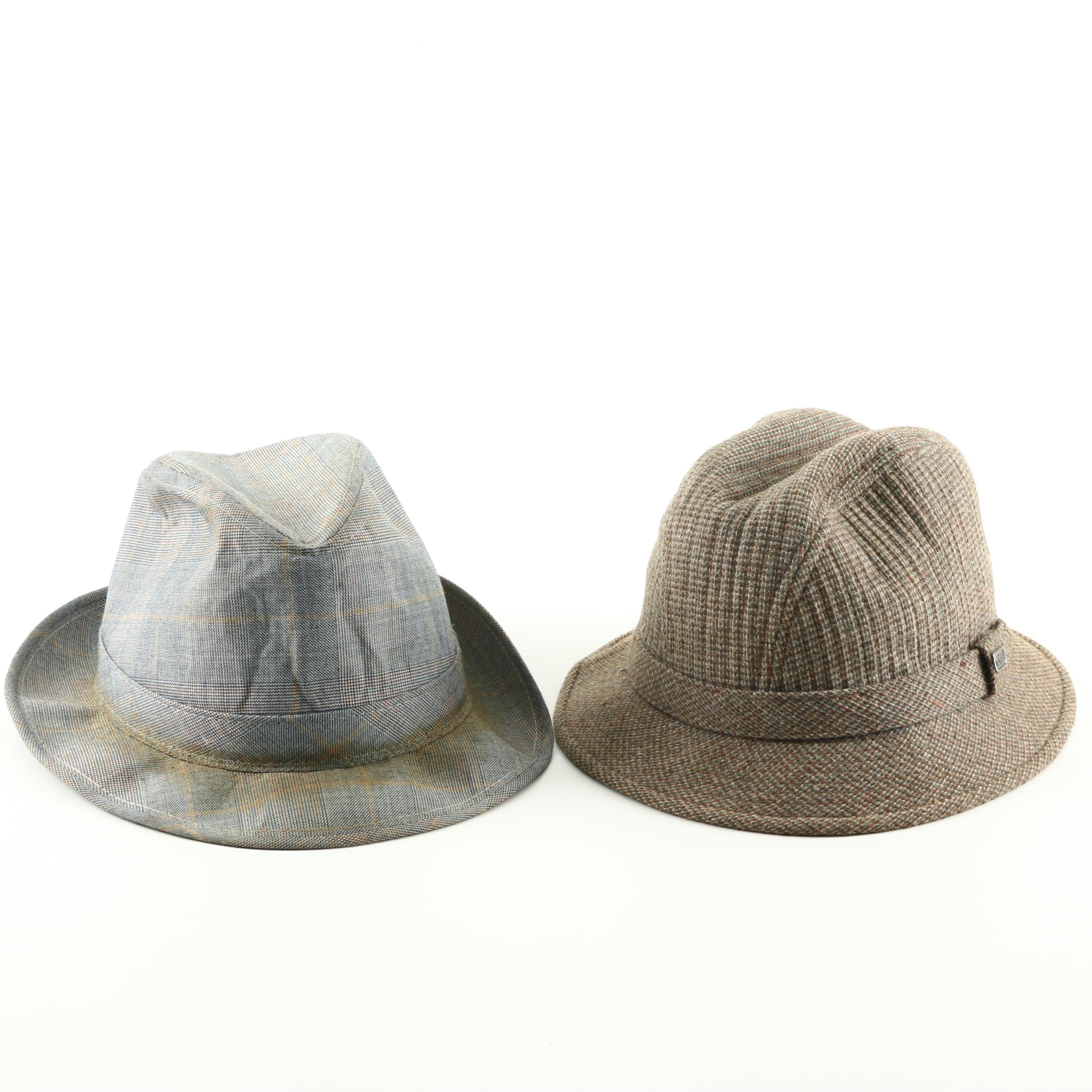 Men's Totes Hat and Vintage Plaid Homburg Hat