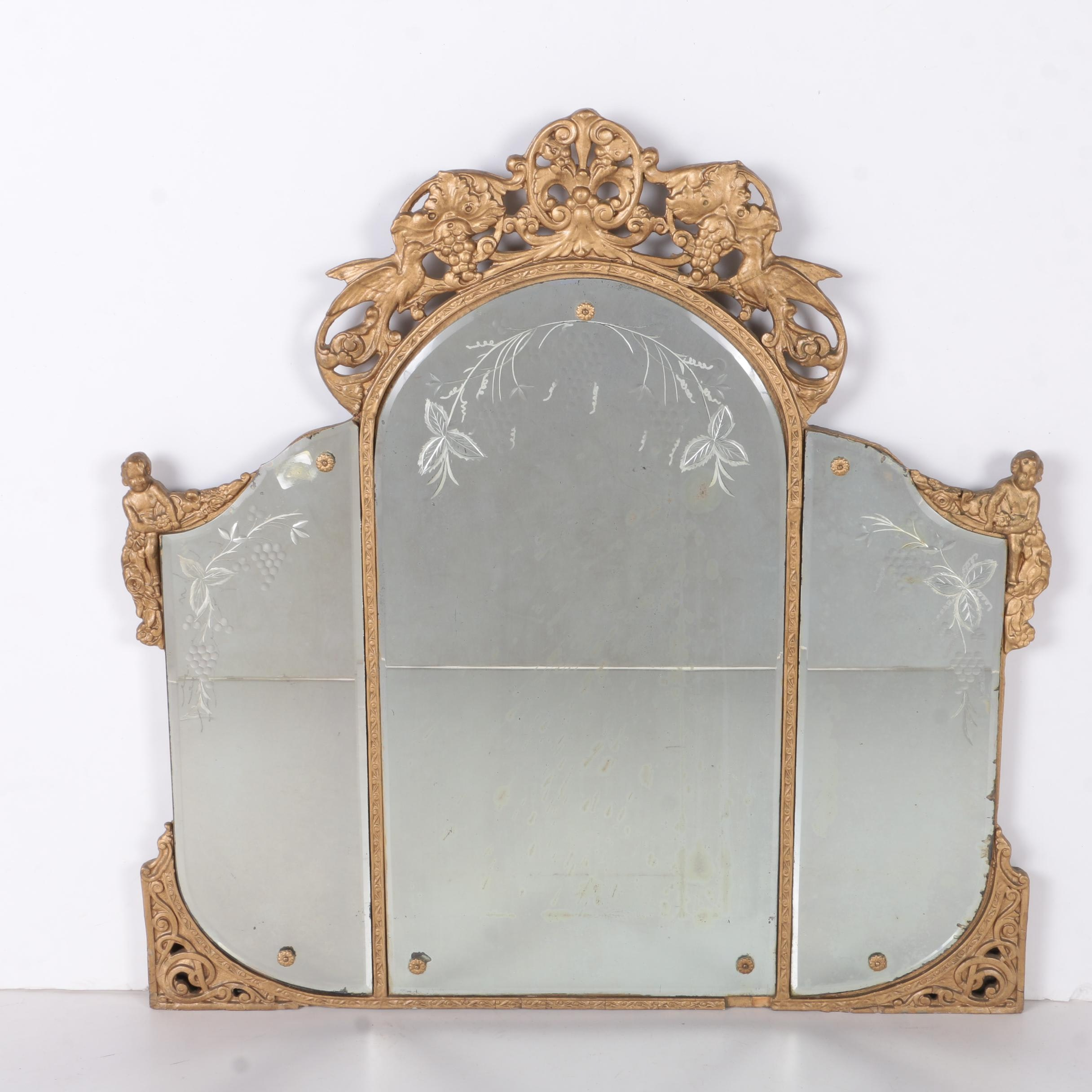 Vintage Etched Vanity Mirror with Rocaille Pediment