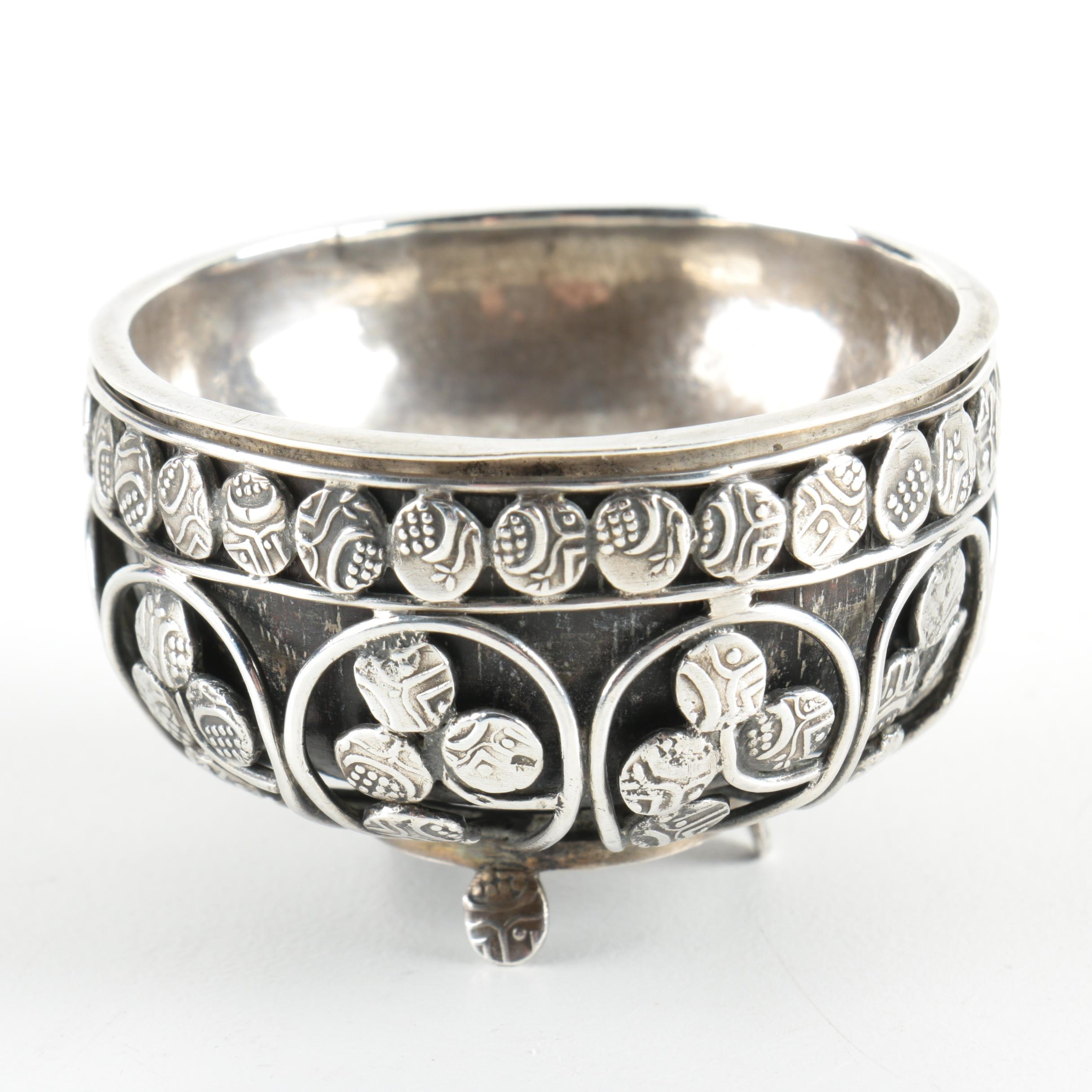 Openwork Sterling Silver Salt Cellar with Coconut Shell Liner