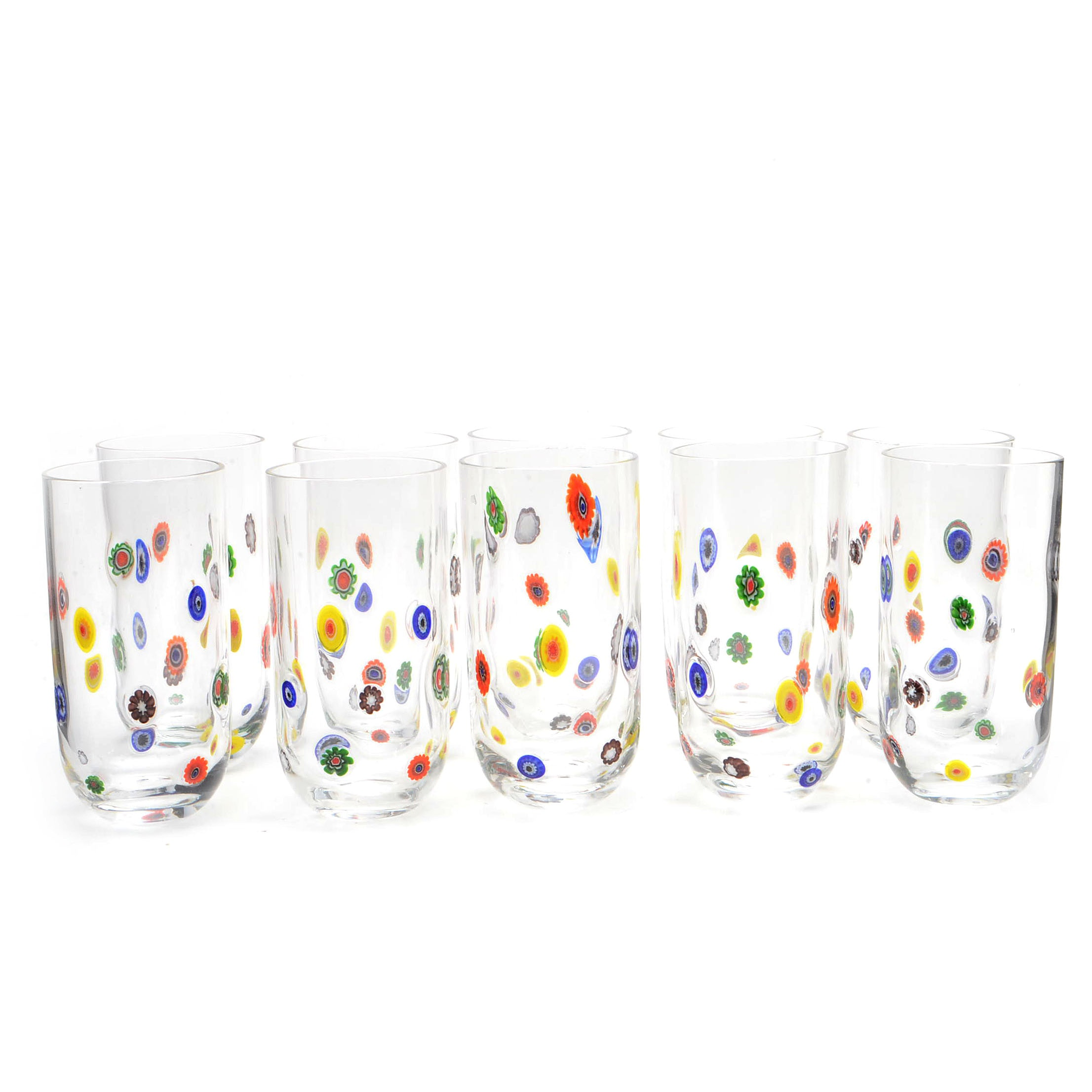 Collection of Vintage Murano Style Glass Tumblers