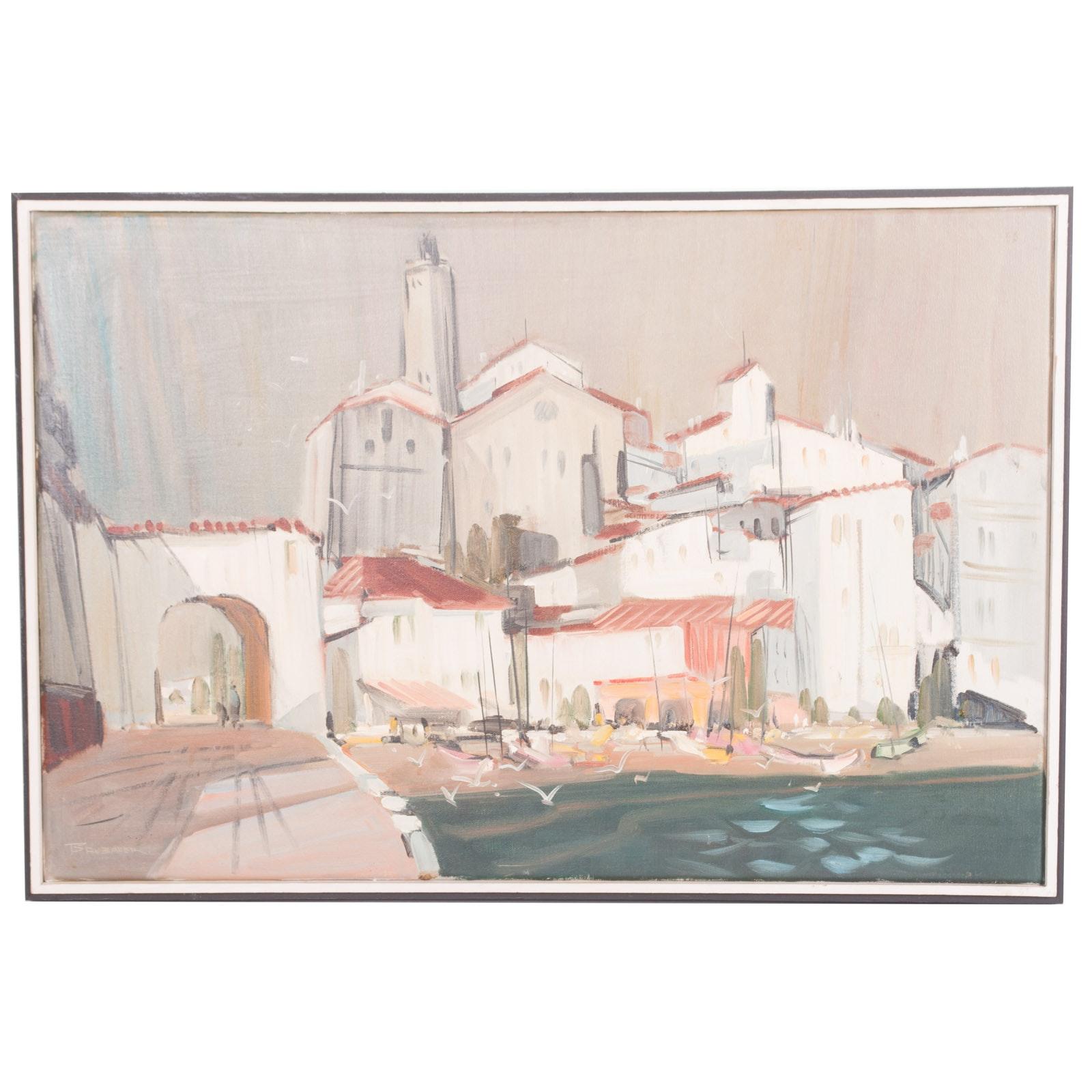 Robert Brubaker Original Oil Painting on Canvas of Coastal Village