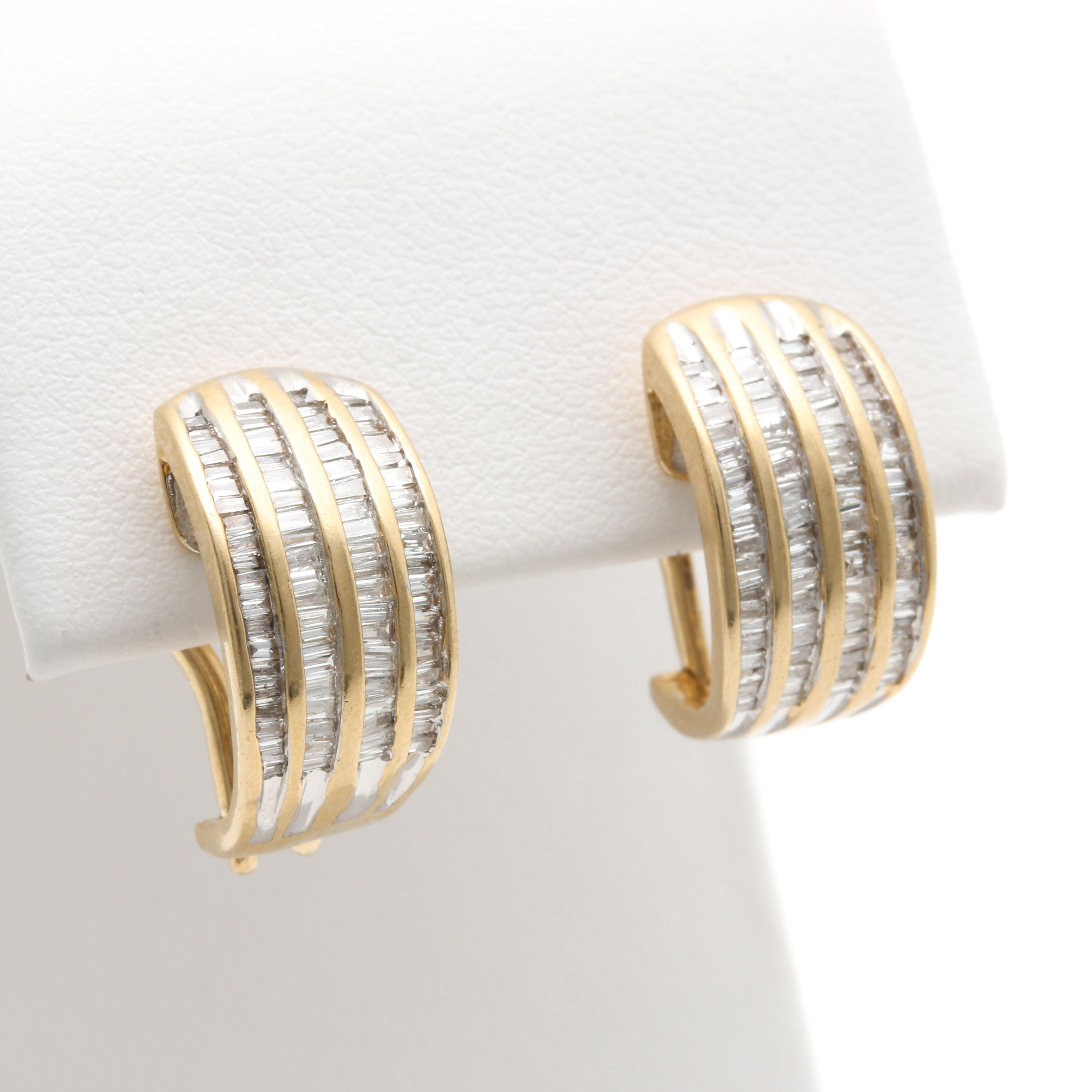 14K Yellow Gold 1.00 CTW Diamond Earrings
