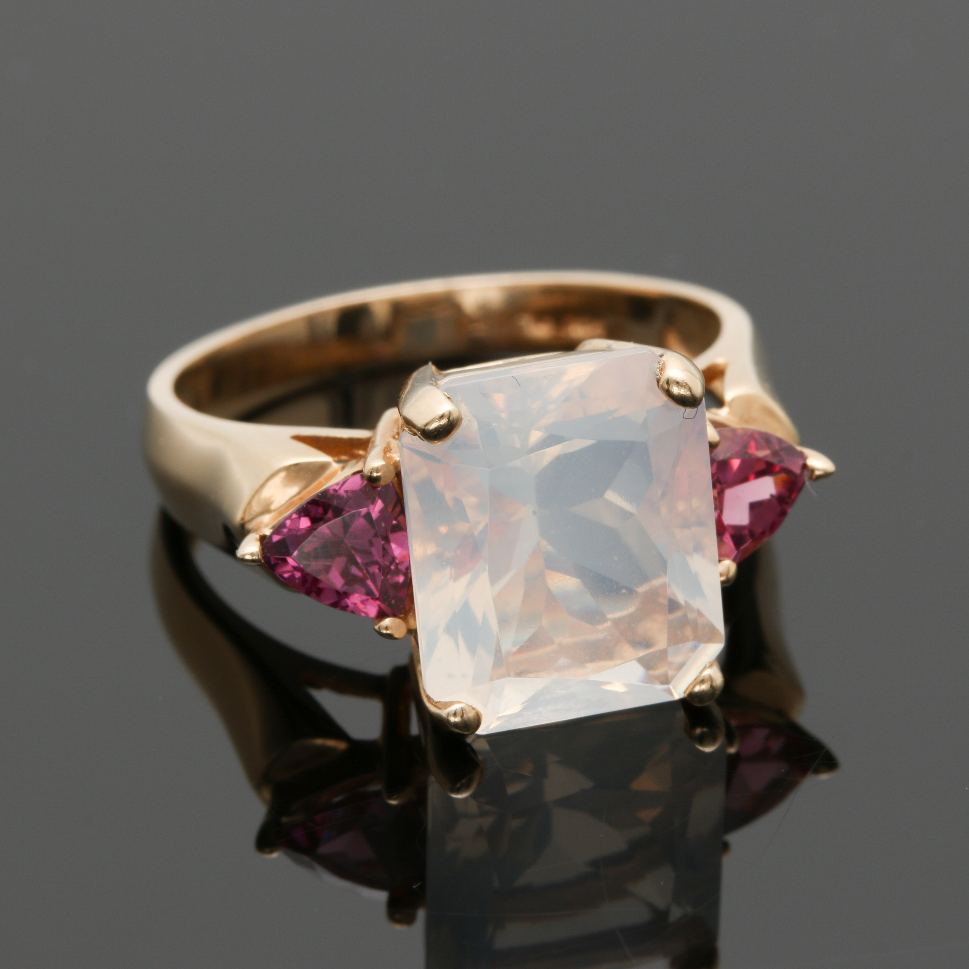 14K Yellow Gold Moostone and Rhodolite Garnet Ring