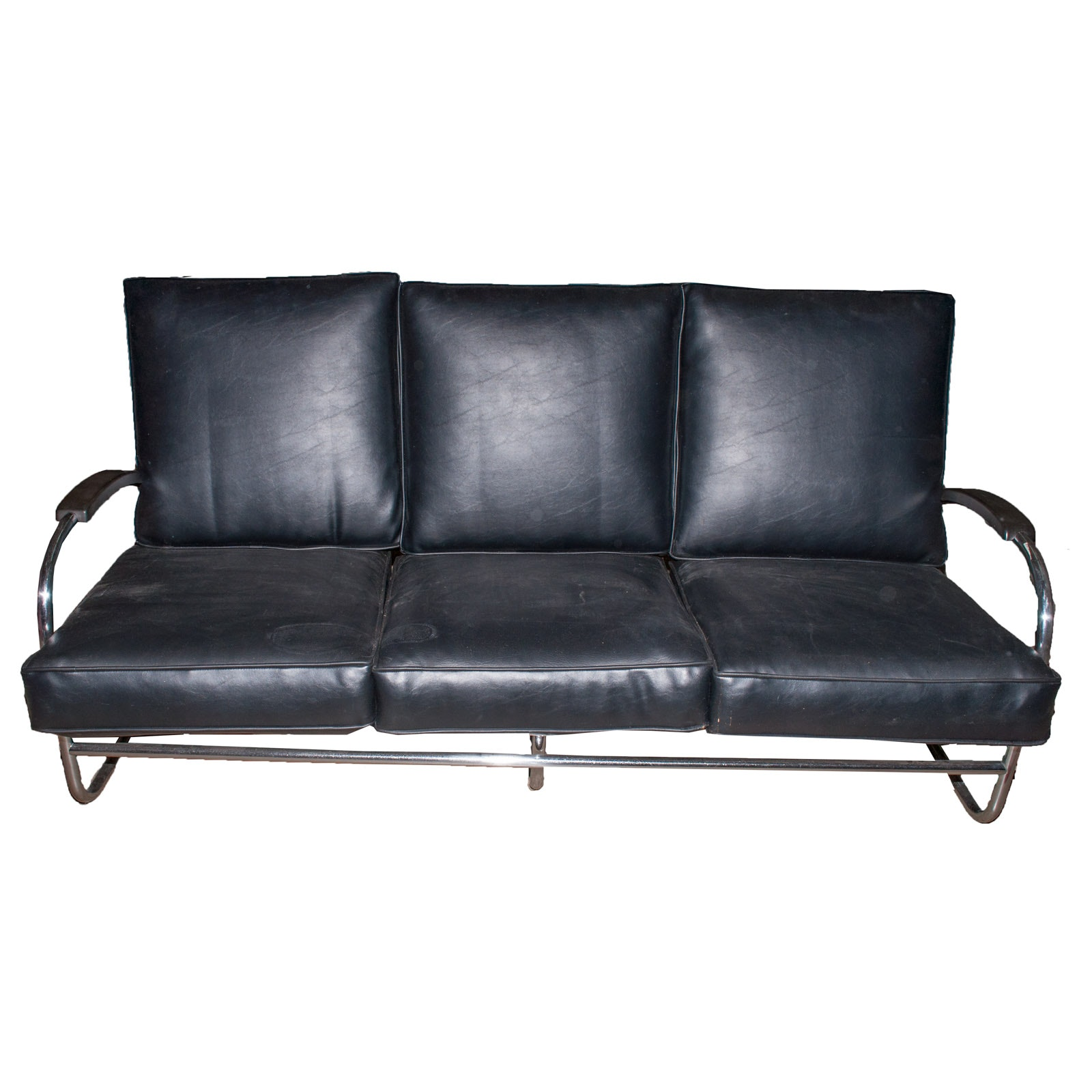 Vintage Modern Italian Leather Sofa, Circa