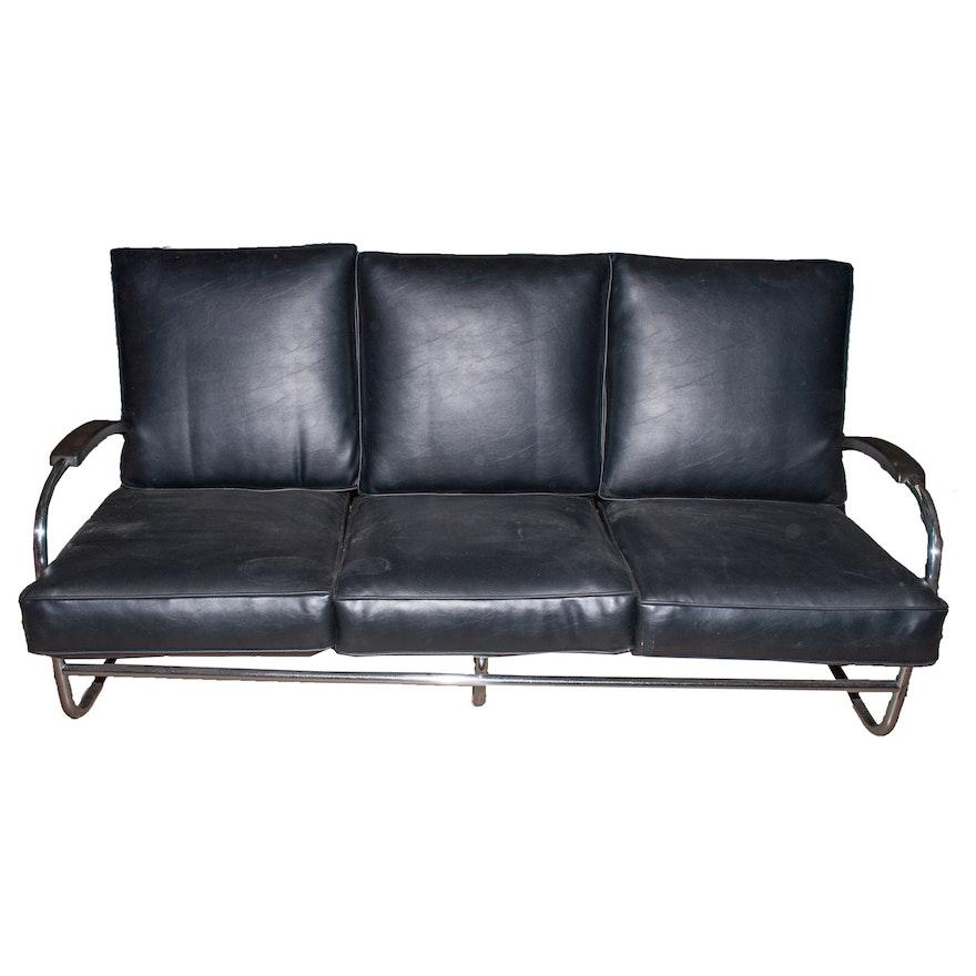 Vintage Modern Italian Leather Sofa, Circa